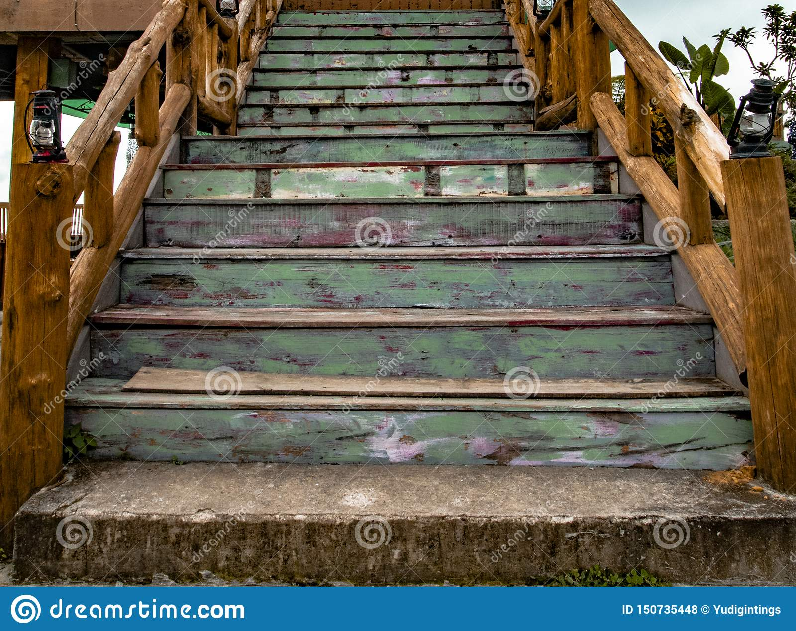 Vintage And Teak Wooden Stairs Stock Photo Image Of