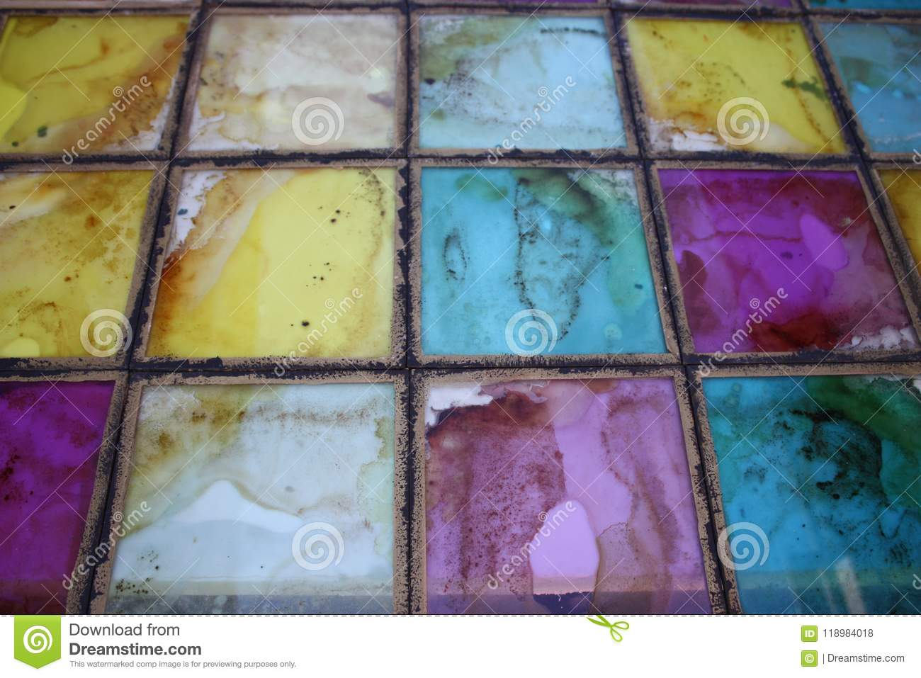 The texture of the colored glass stained glass tile
