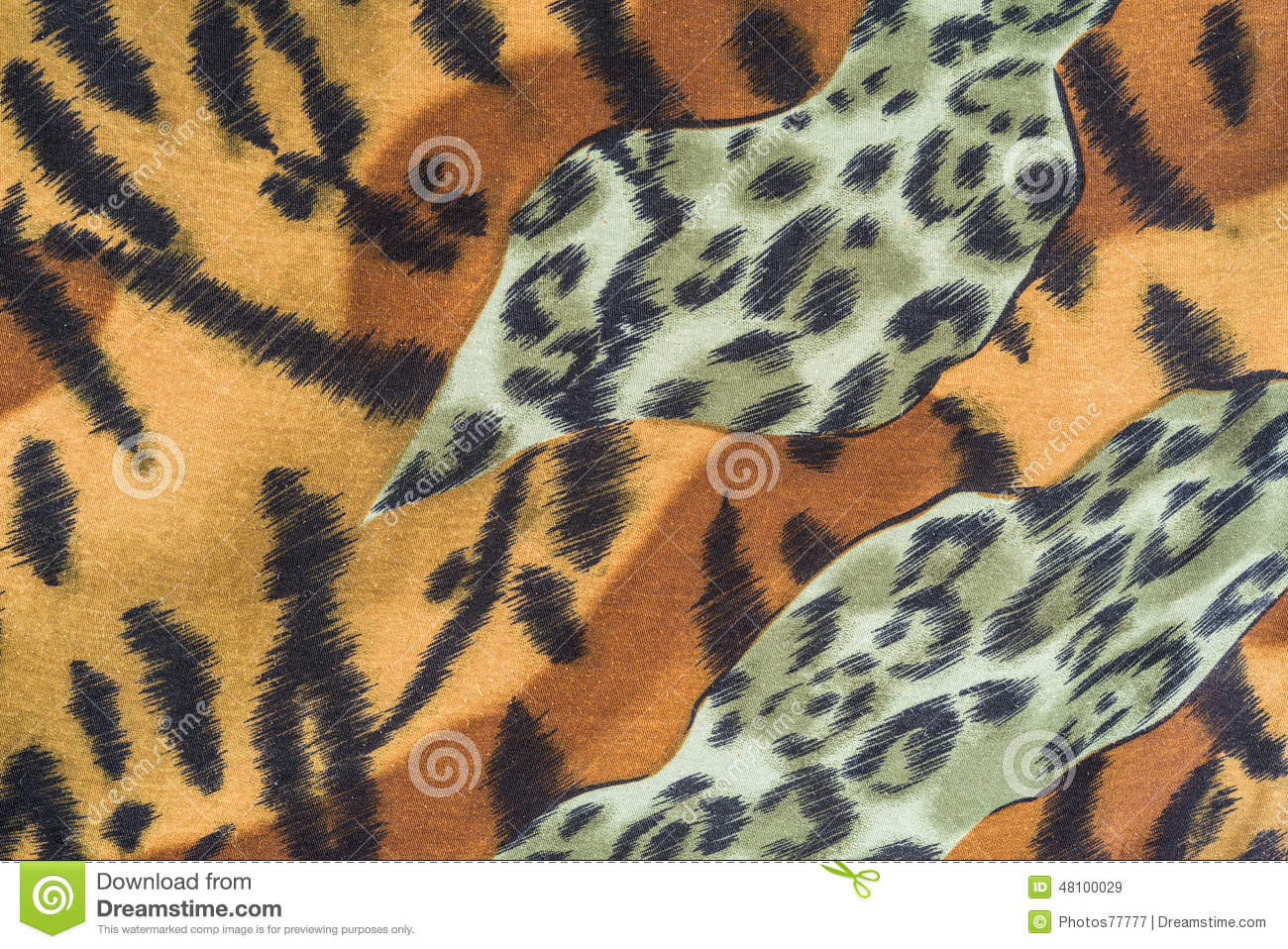 Texture of tiger striped fabric