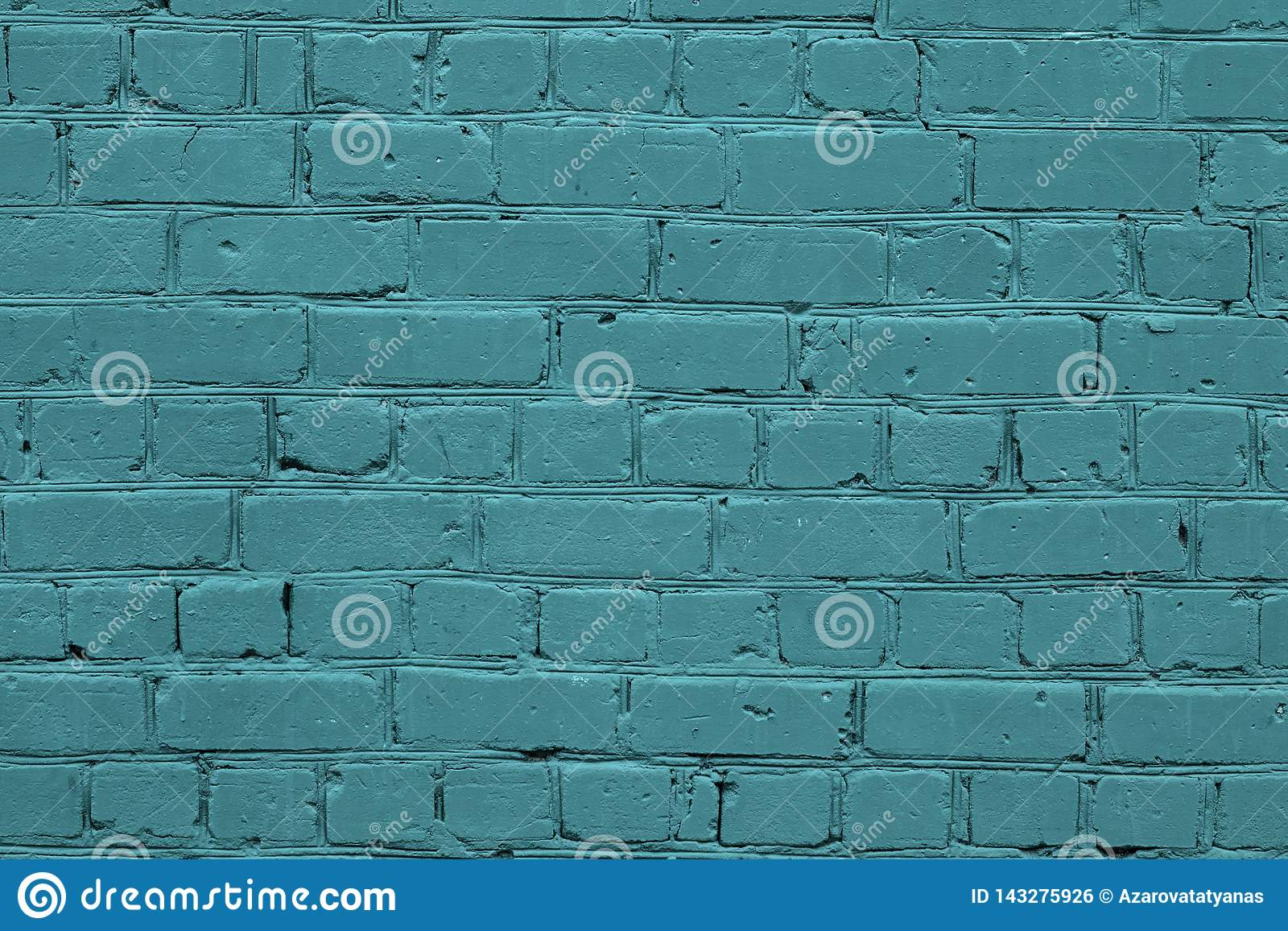 Texture of a turquoise brick wall. Green texture brick wall. Turquoise brick wall texture background. Blue stone background.