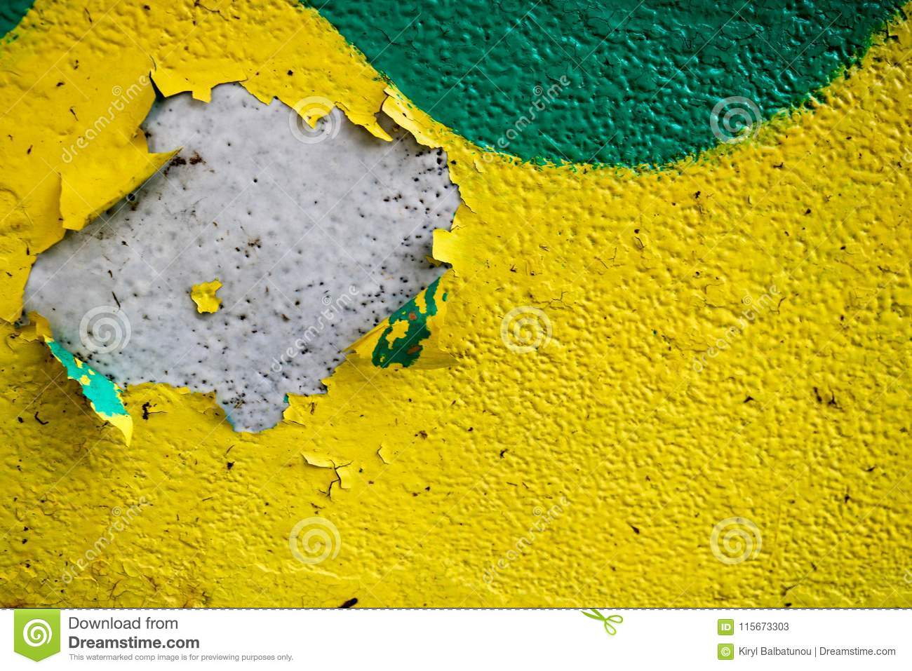 Texture Of A Two-color Yellow And Green Old Shabby Concrete Wall ...