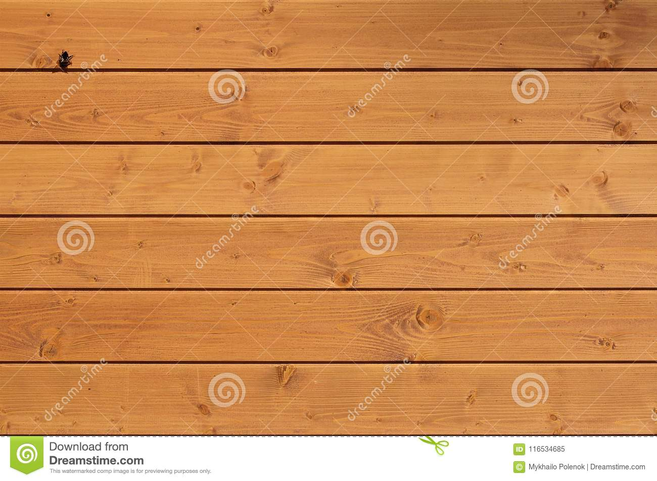 The texture of weathered wooden wall. Aged wooden plank fence of horizontal flat boards with small bee sitting on the