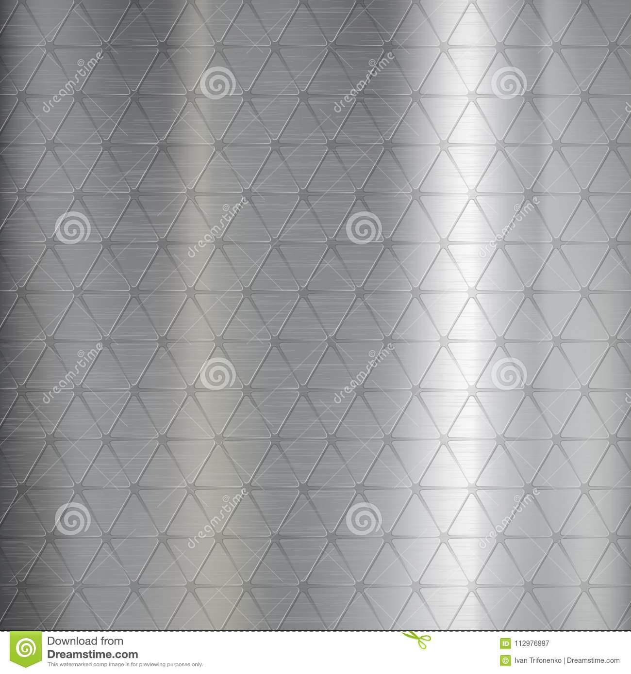 Textured brushed metal from pattern of geometric triangle.
