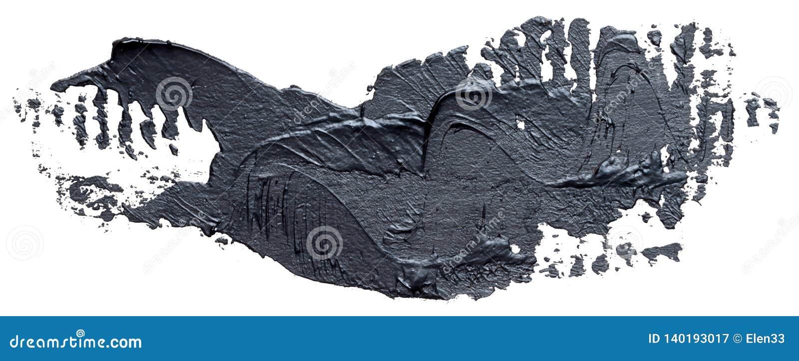 Textured czarny nafcianej farby muśnięcia uderzenie, odosobniony