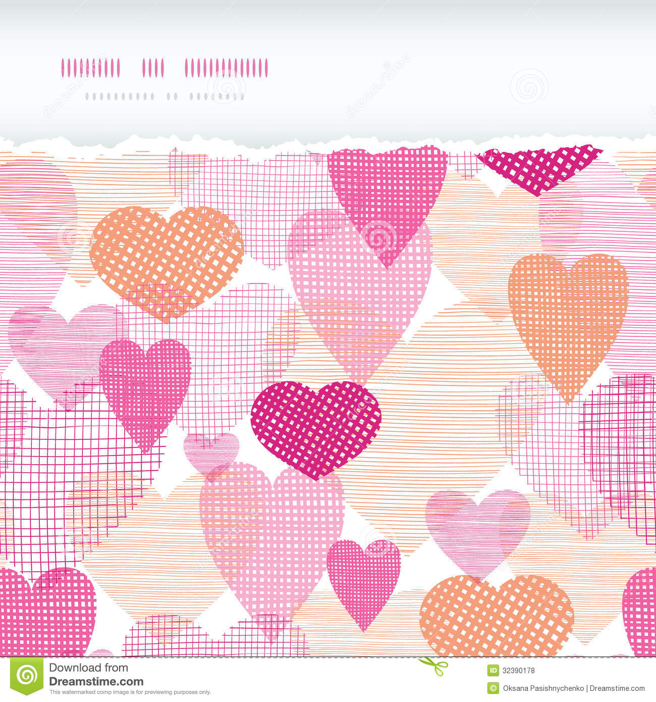 Heart Border Horizontal Textured fabric hearts tornHeart Border Horizontal