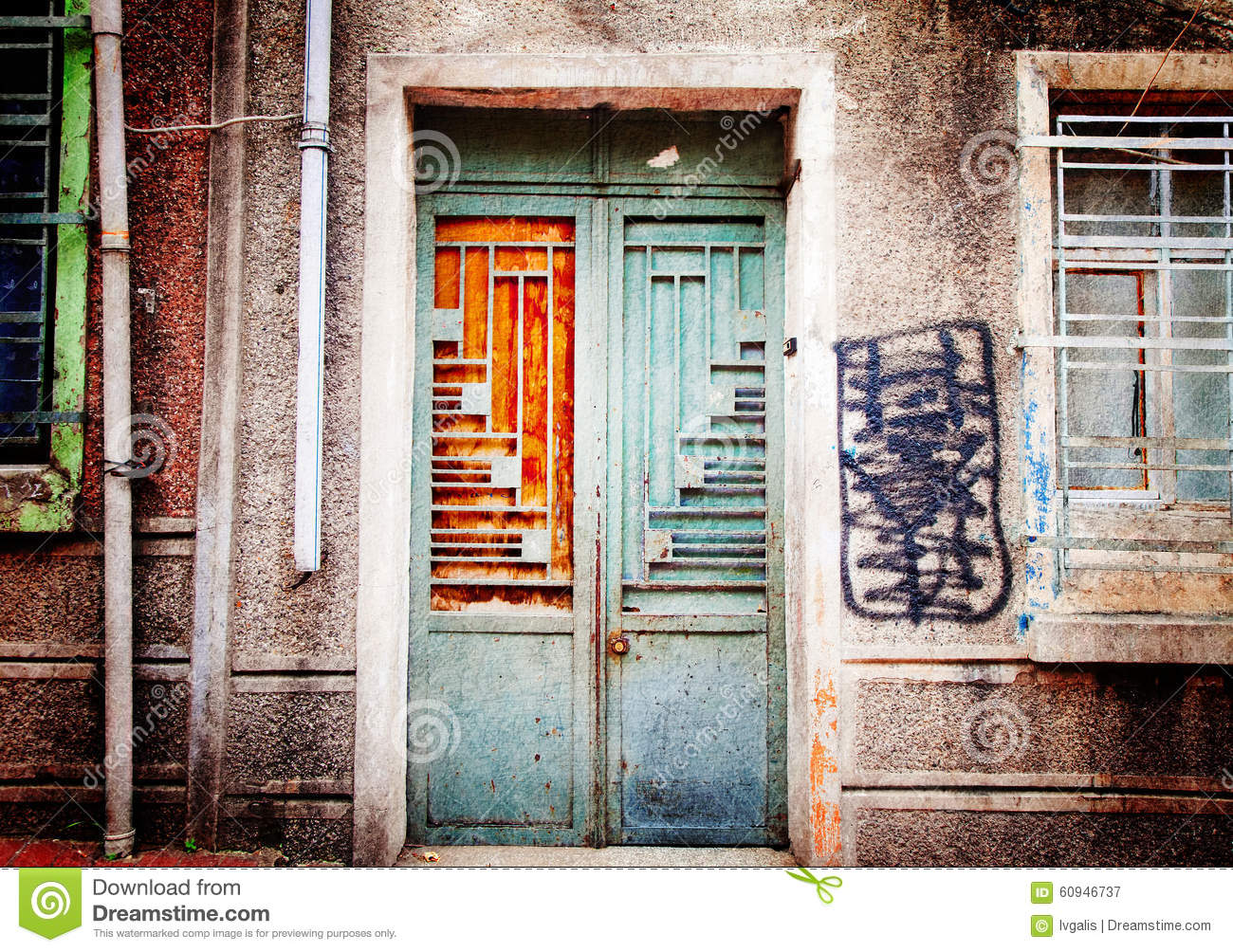 1004 #AF5E1C Painted Metal Door And A Fragment Of Old Building Wall (textured Toned  save image Painting Metal Doors 47471300