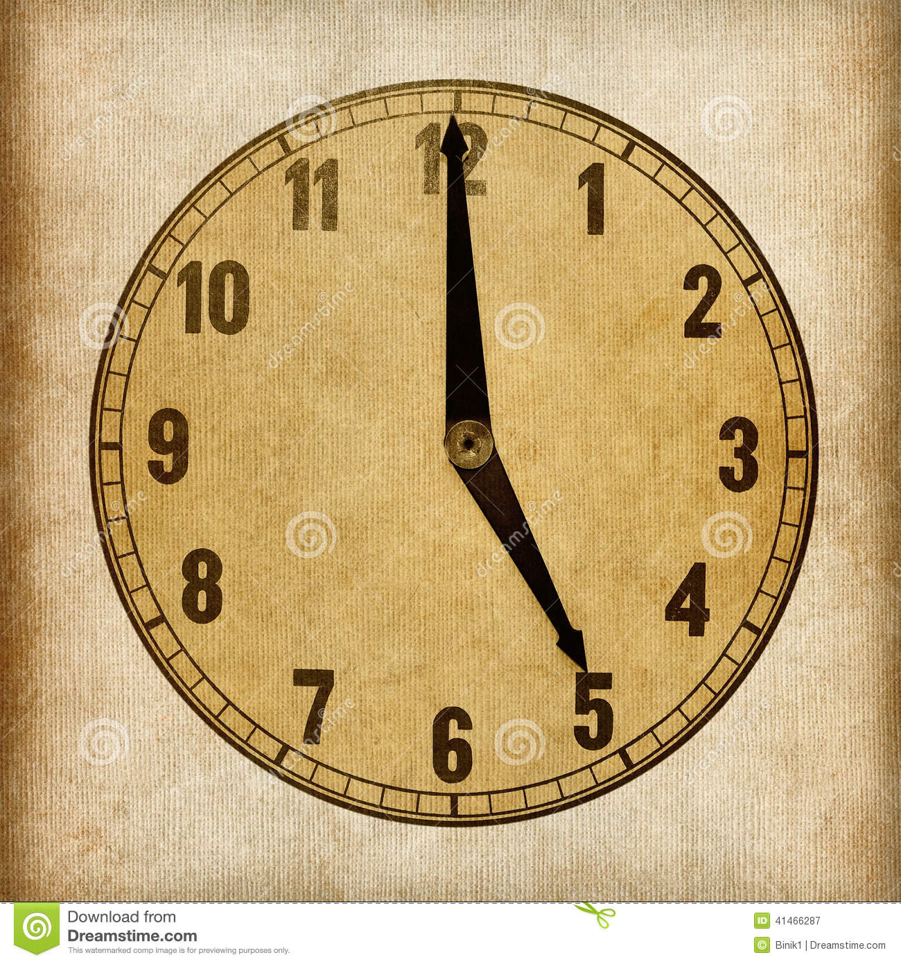 Textured Old Paper Clock Face. 5 O'clock Stock Photo ...