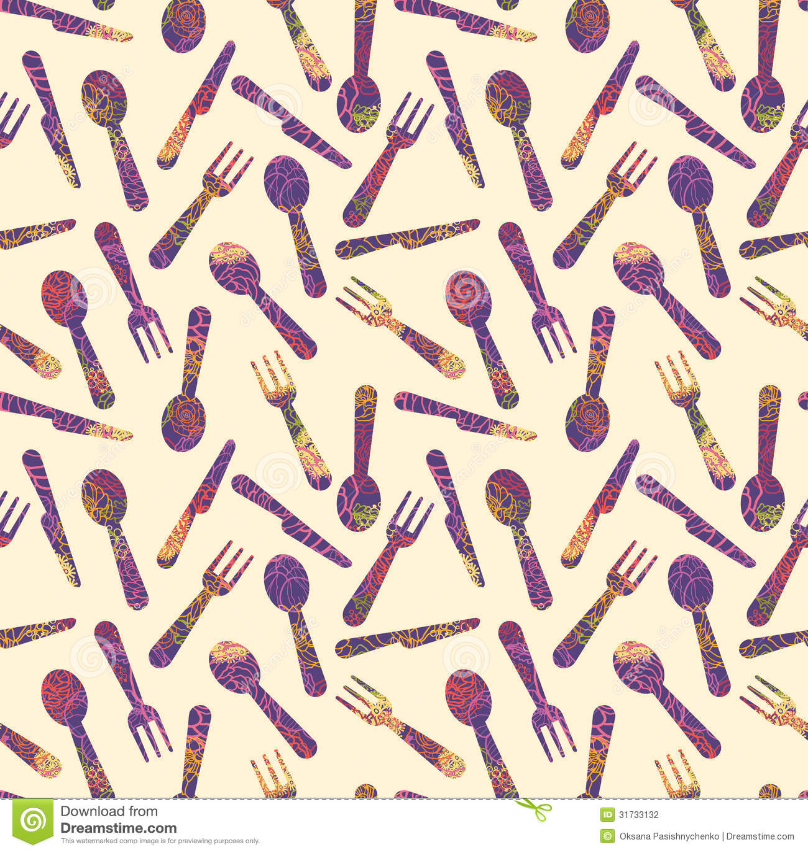 Textured Silverware Seamless Pattern Background Stock