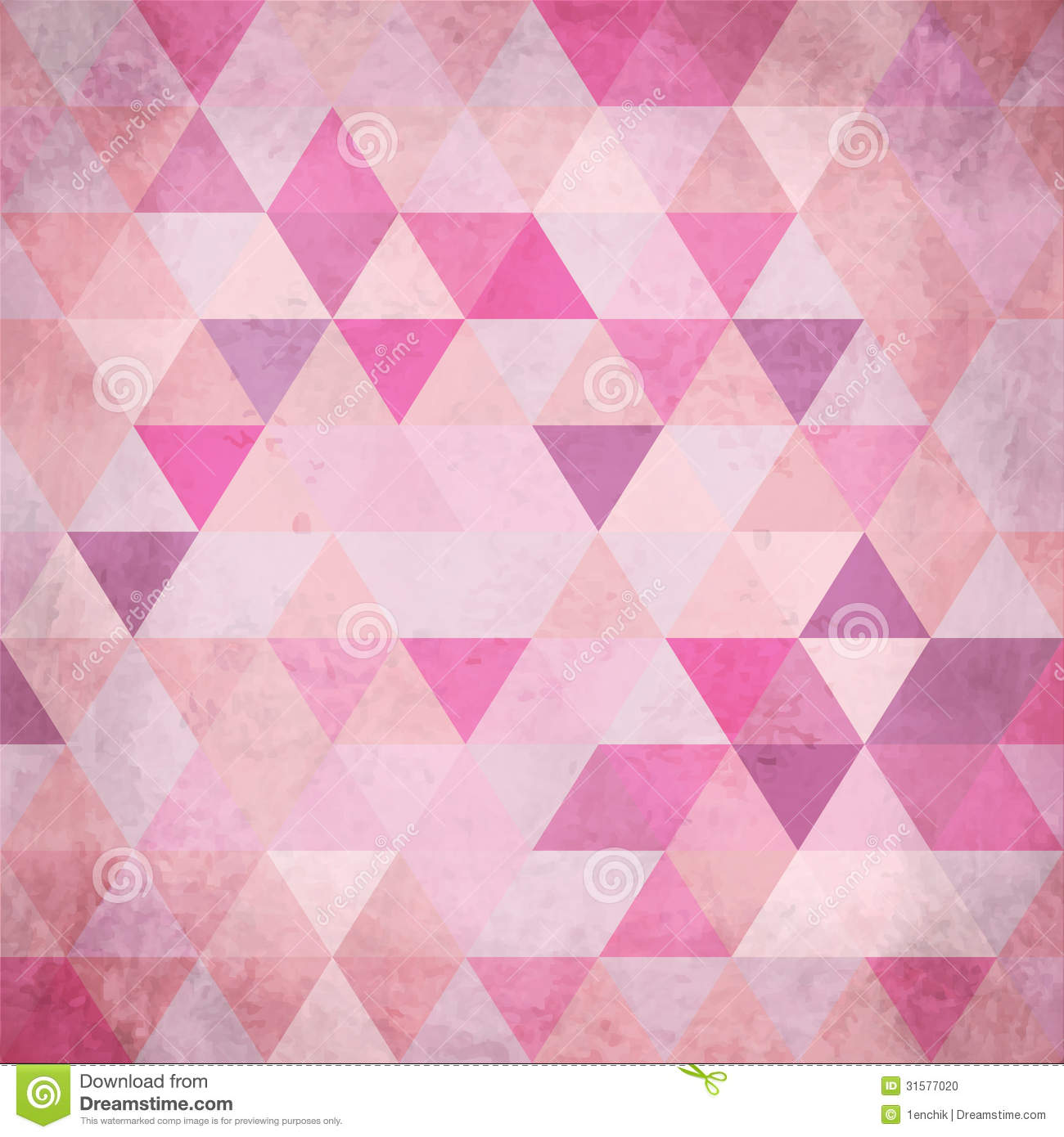 textured vintage pink vector triangles background stock vector