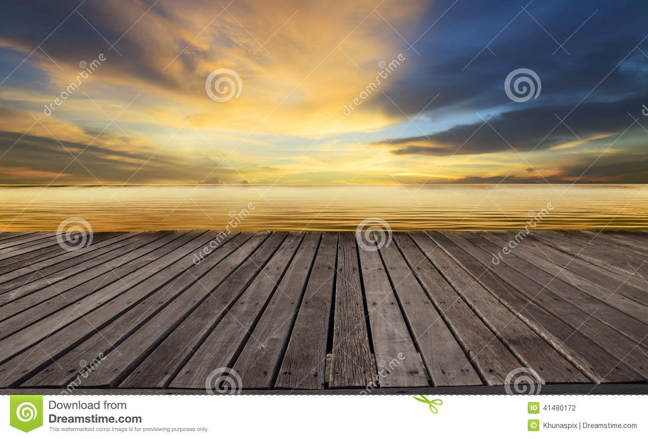 Textured of wood terrace and beautiful dusky sky with free copy space use for background, backdrop to display goods and new