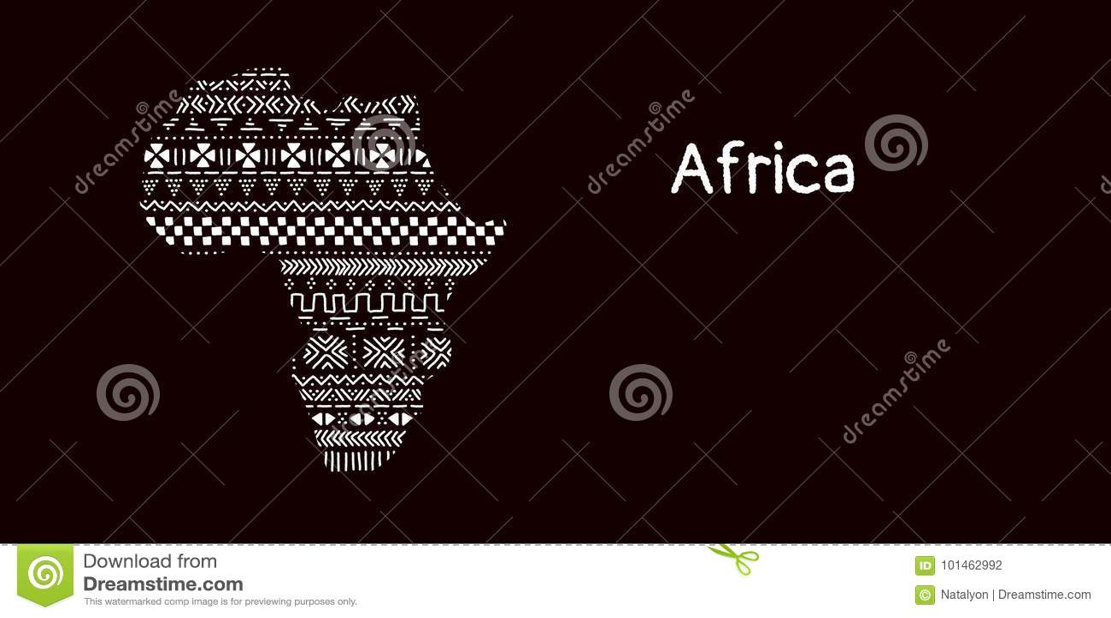 Texturerad Afrika kontinent i den svartvita mudclothprydnaden, vektor