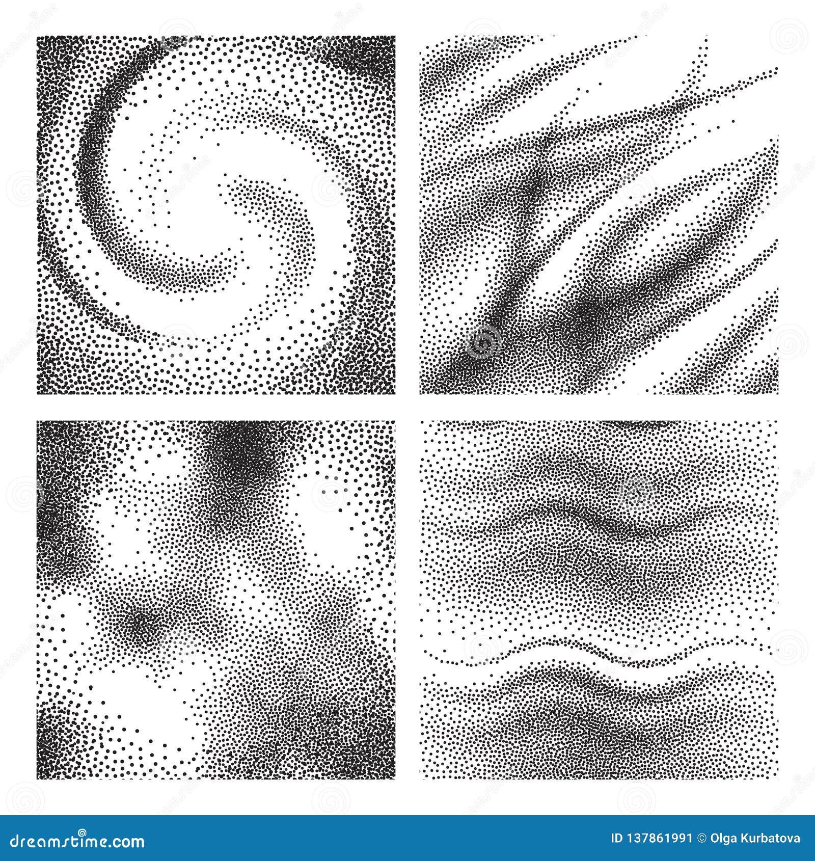 Textures âgées de grain Fond rouillé granuleux de délabrement de la poussière Ensemble tramé de particules de noir de grunge de c
