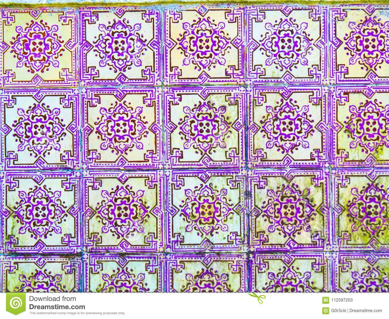 Portuguese Purple Glazed Tiles, Textures, Dirty, Forsaken, Portugal Handmade Crafts and Arts