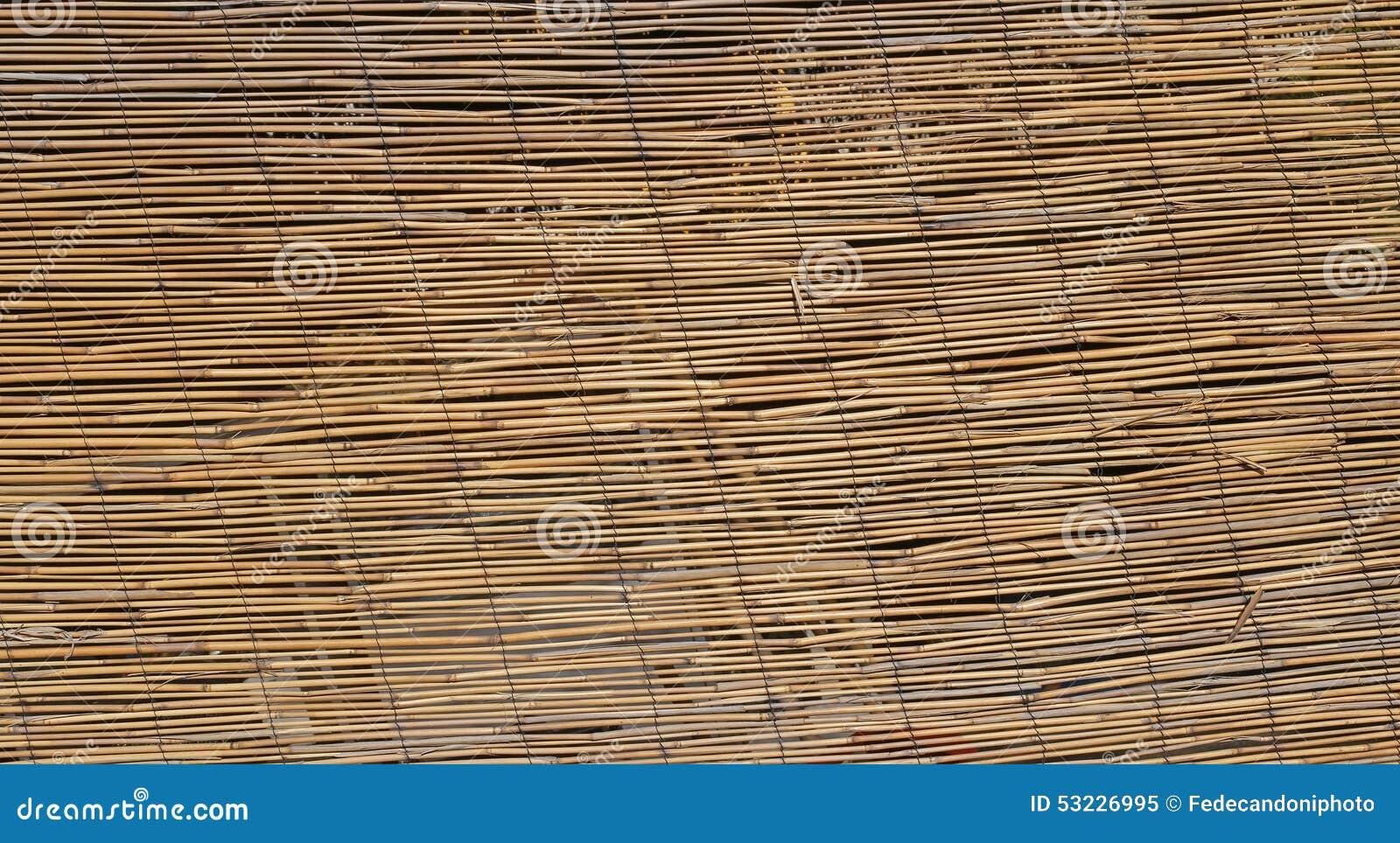 Texturice el fondo de los bastones de bambú grandes entrelazados con cada othe