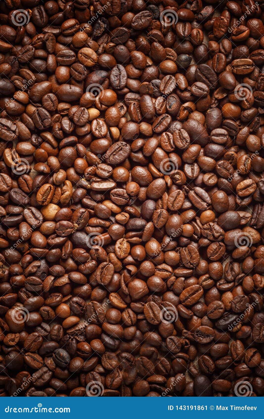 Textuur die koffiebonen morsen Hoogste mening De ruimte van het exemplaar