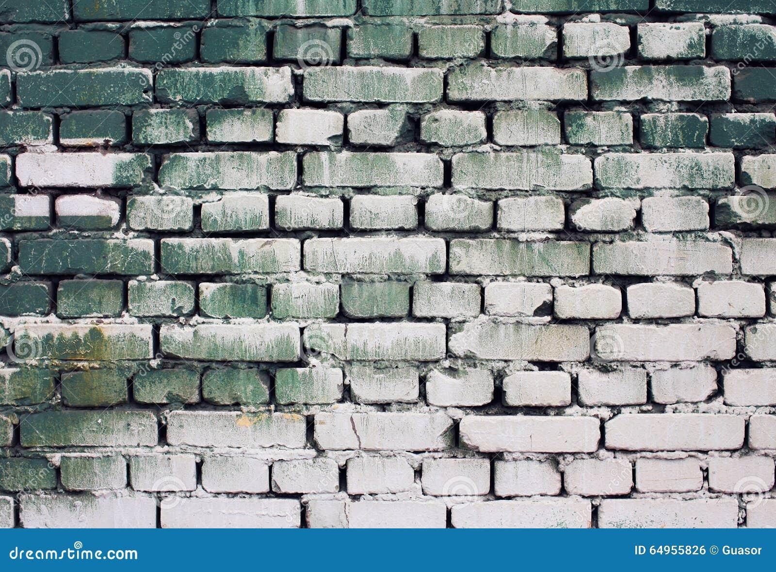 Textuur van de baksteen de oude muur met de groene witte kleuren ...