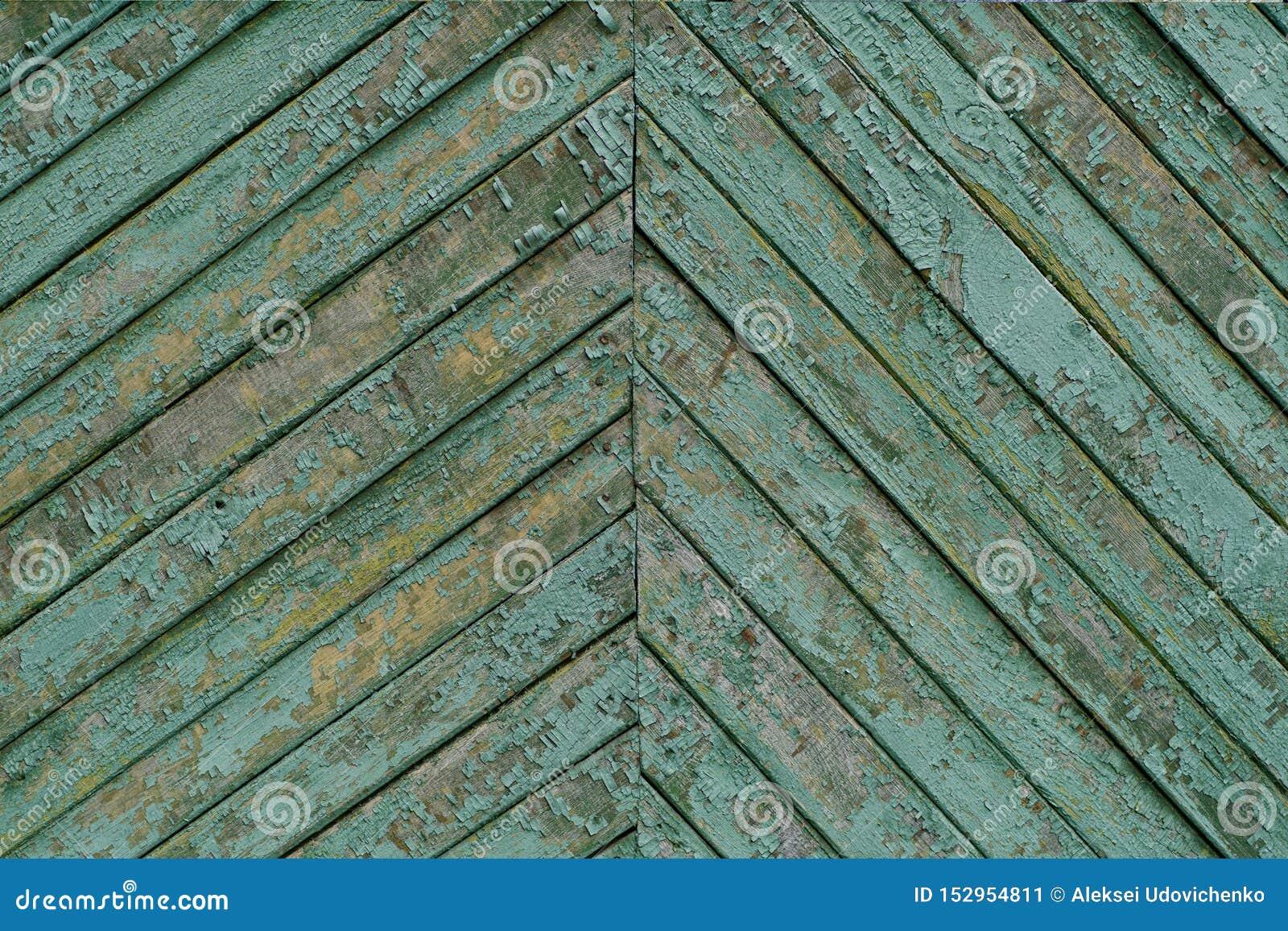 Textuur van de oude uitstekende houten die raad in cyaan wordt geschilderd