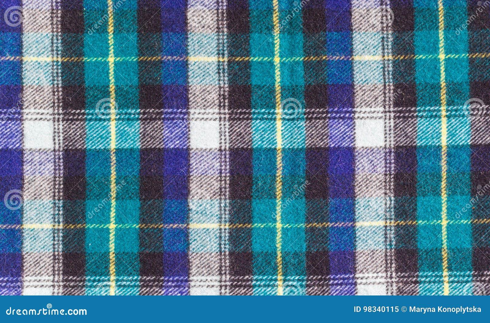 Schotse Geruite Wollen Stof.Textuur Van Geruite Wollen Stof Stock Afbeelding