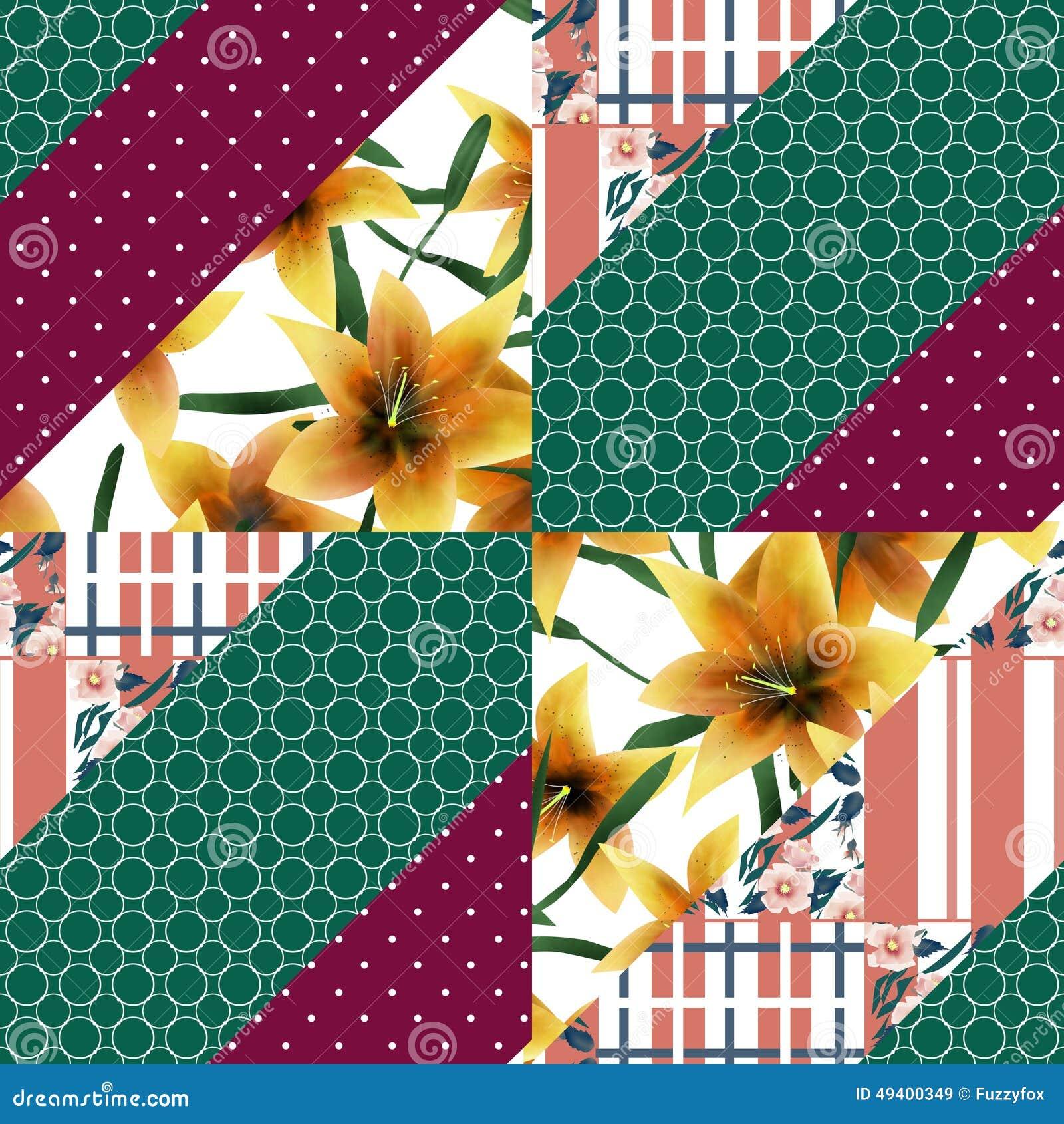 Textuur van het lapwerk de naadloze bloemen oranje lilly patroon backgroun