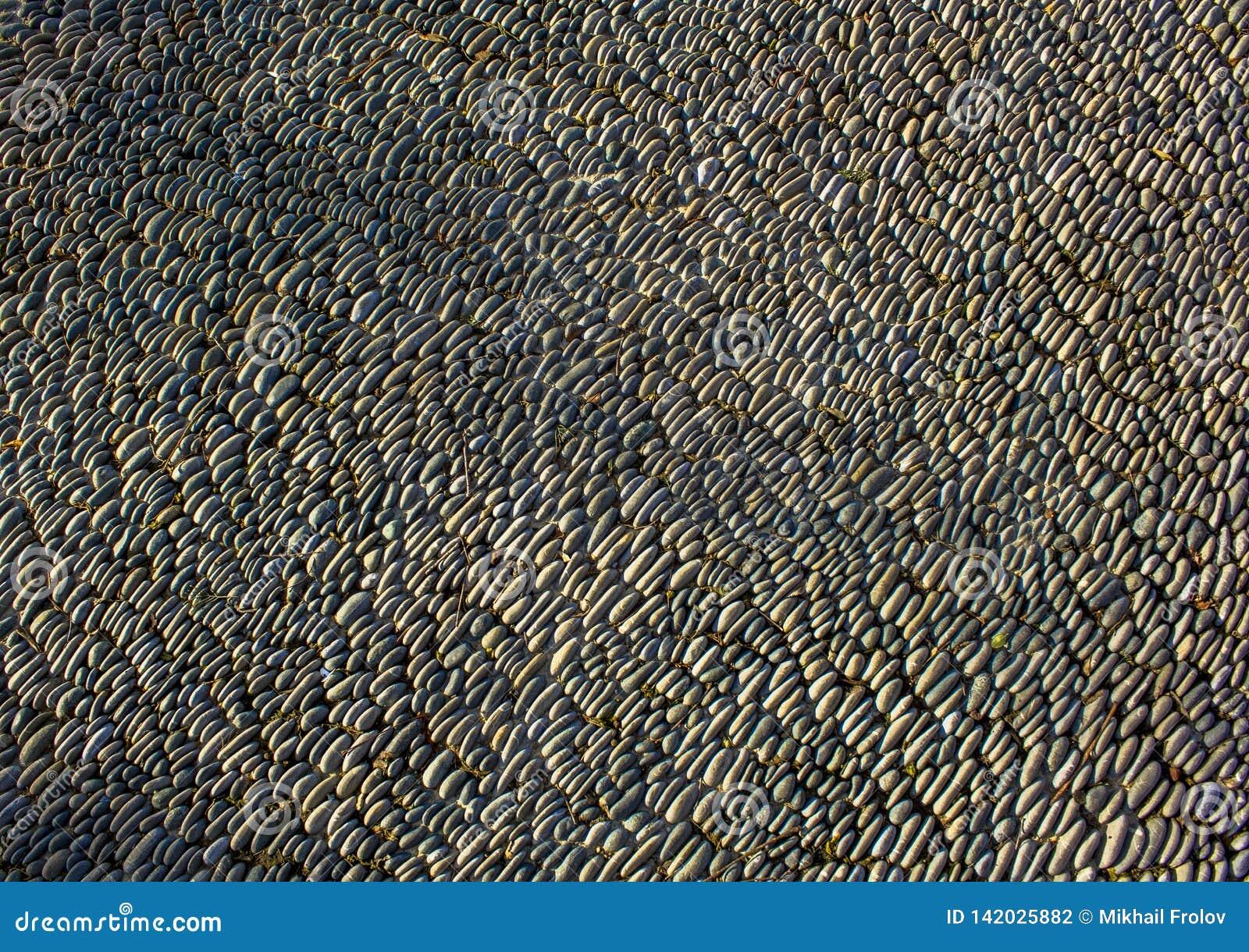 Textuur van kiezelsteen het bedekken Het grijze bedekken gemaakt van kiezelsteen