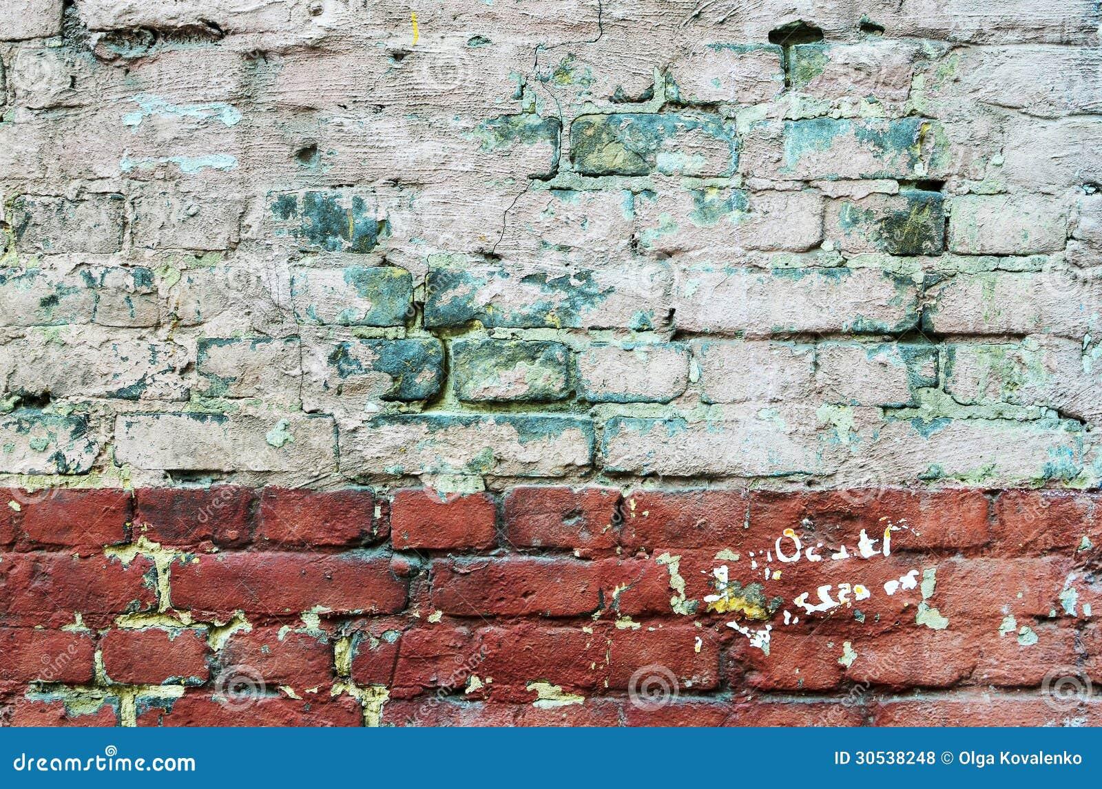 Stenen Muur Verven : Textuur van oude geschilderde bakstenen muur stock foto afbeelding