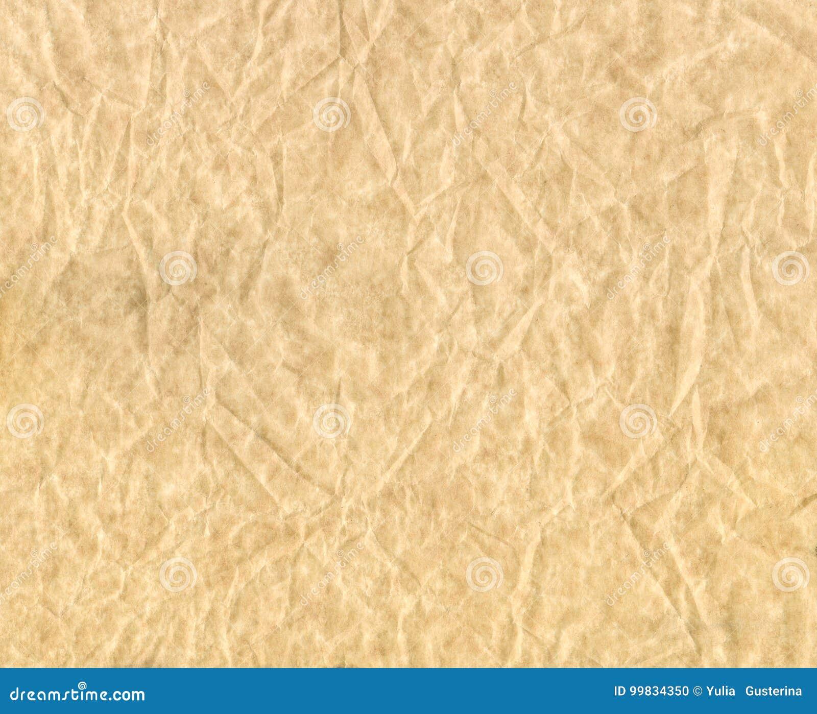 Textuur van verfrommeld document Bruin verfrommeld perkament