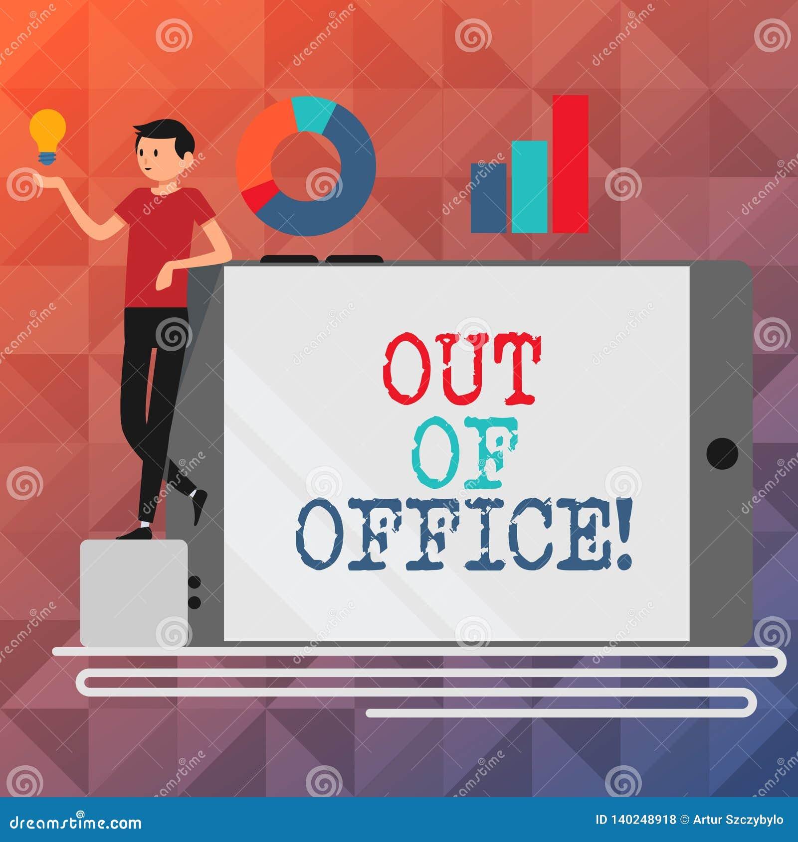 Textzeichen, das aus Büro heraus darstellt Begriffsfoto außerhalb des Jobs niemand in der Geschäft Bruch-Freizeit entspannen sich