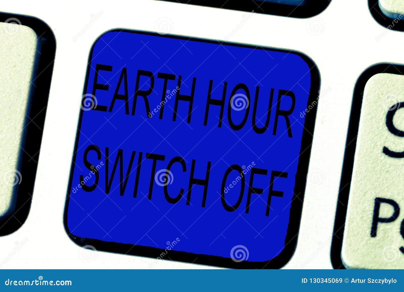 Textzeichen, das Erdstunden-Schalter vorführt Begriffsfoto der Licht-heraus Ereignis-jährliche Bewegungs-Planeten-Tag