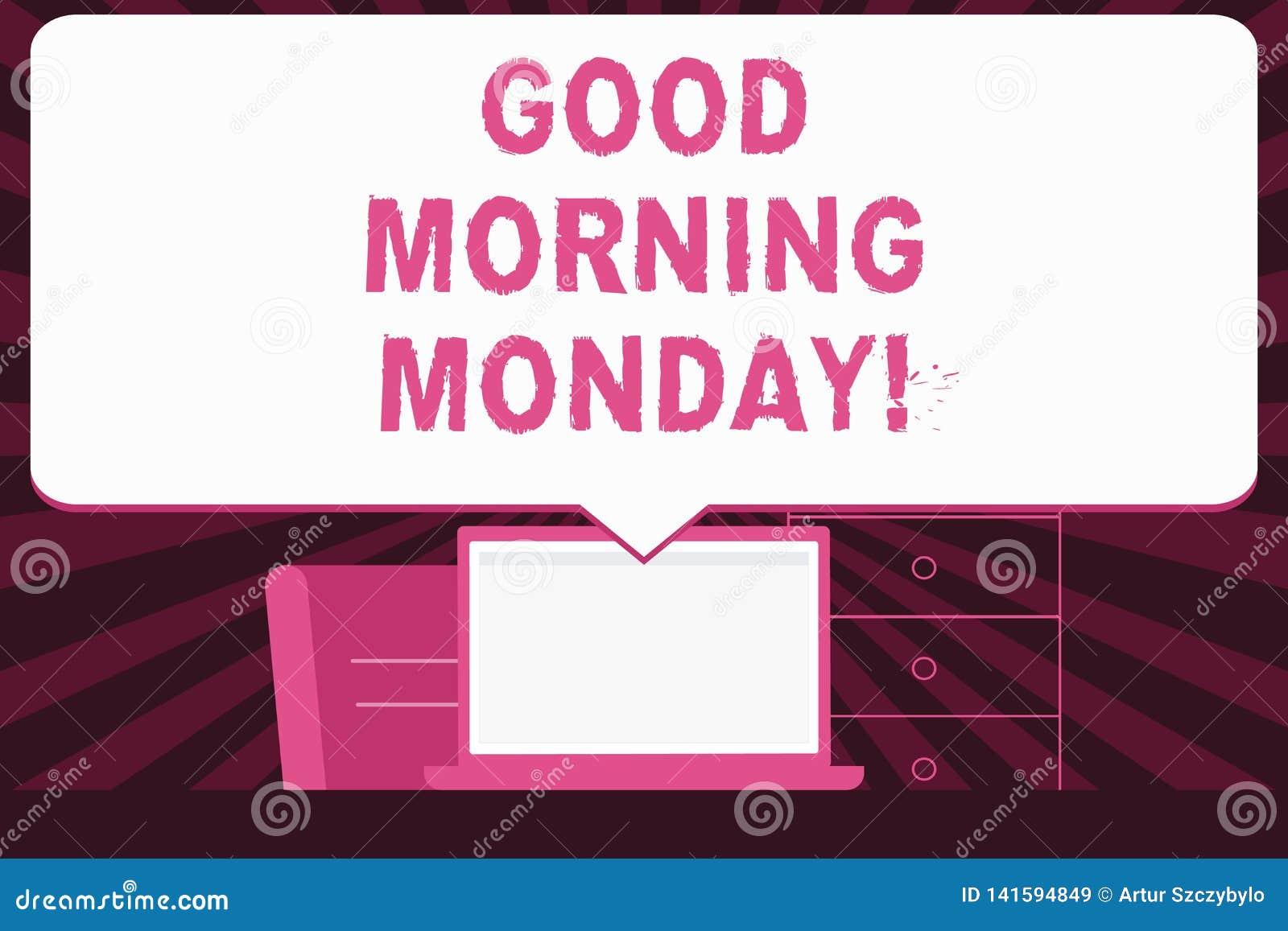 Textzeichen, das guten Morgen Montag zeigt Begriffsfoto glückliche Bestimmtheits-Energiefrühstück