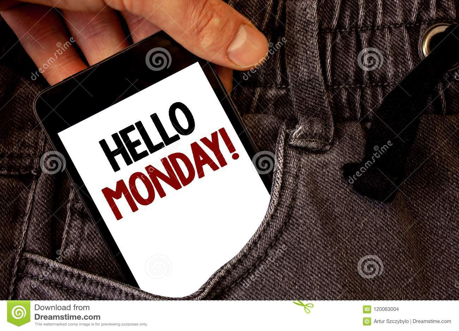 Textzeichen, das hallo Montag Motivanruf zeigt Begriffsfoto positive Mitteilung für Wörter eines neue Tagwochen-Anfangstextes zwe