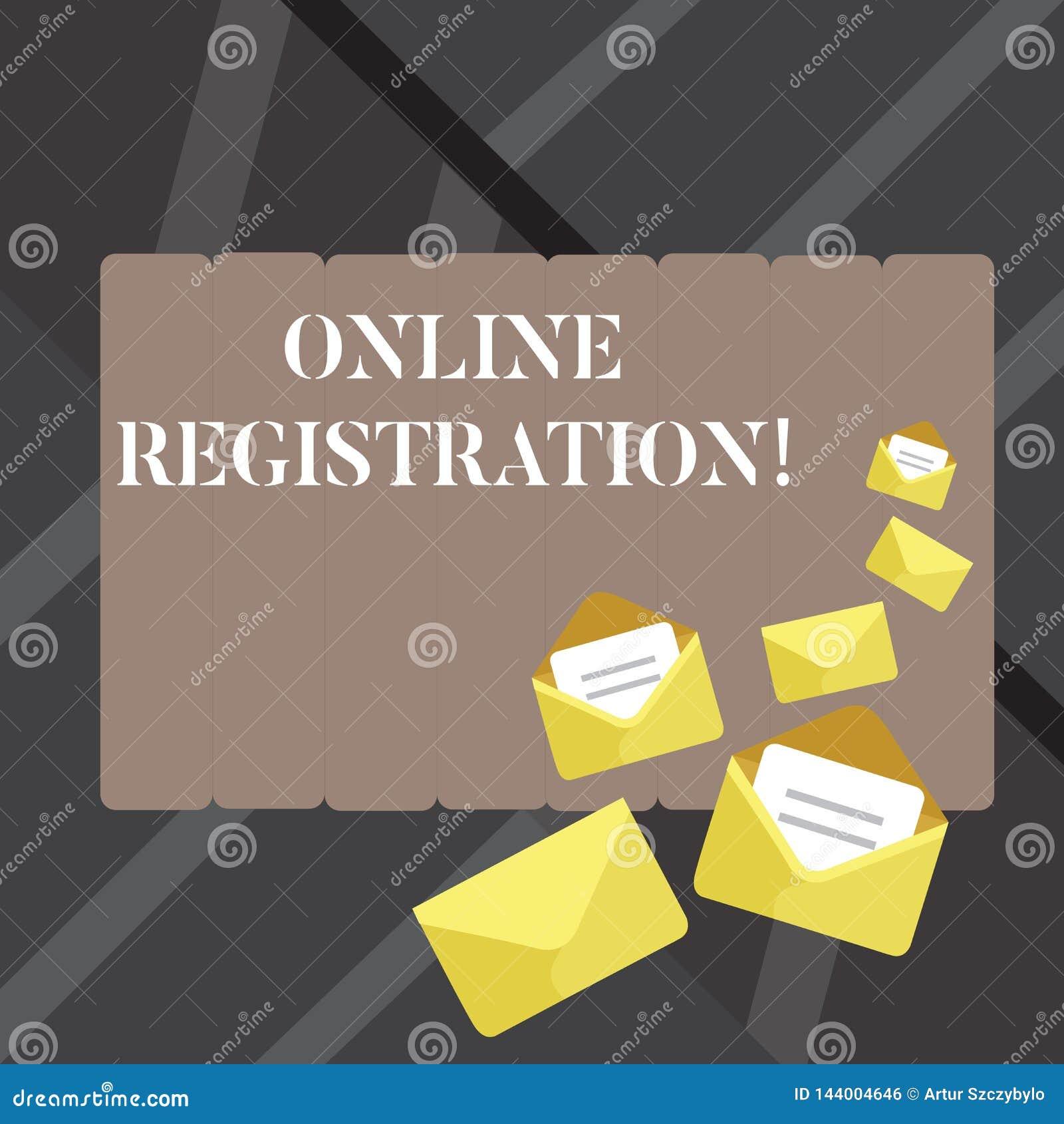 Textzeichen, das Online-Registrierung zeigt Begriffsfoto System für die Unterzeichnung oder das Registrieren über das Internet ge