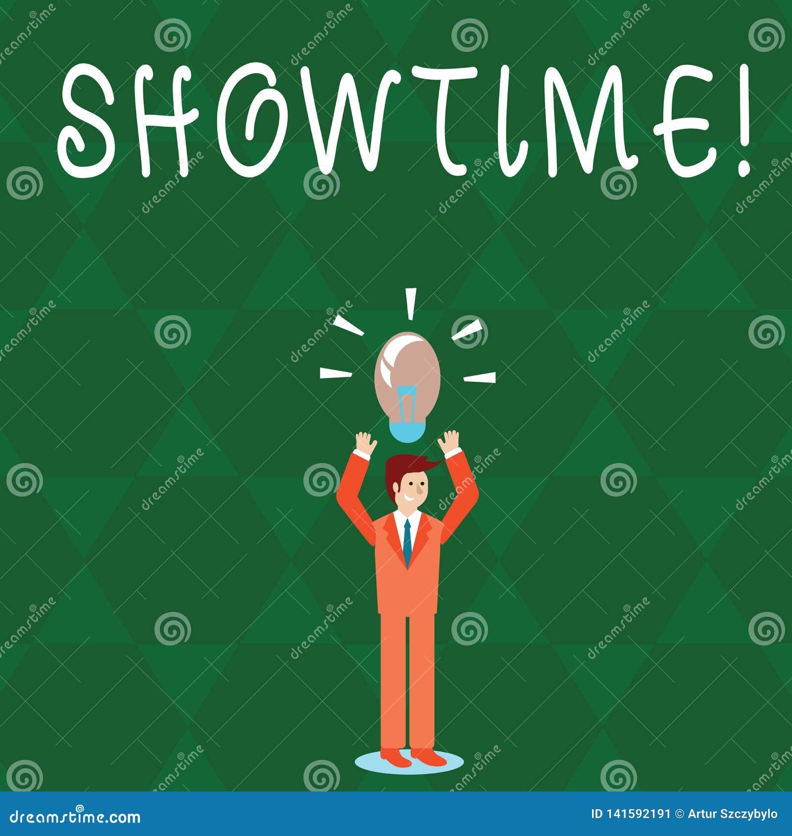 Textzeichen, das Showtime zeigt Begriffsfoto Zeit wird ein Spiel-Film-Konzert Perforanalysisce-Ereignis festgelegt, um zu beginne
