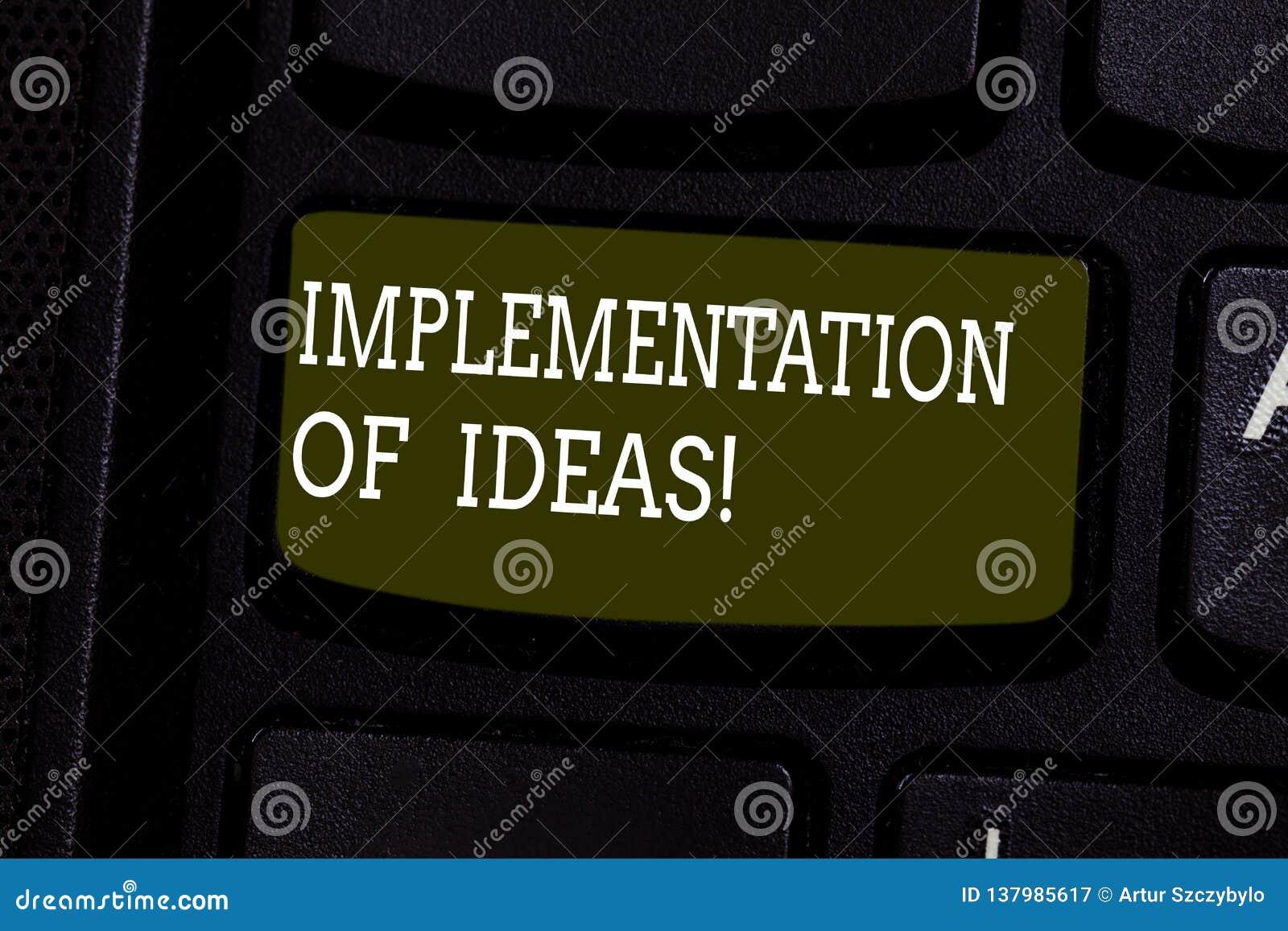 Textzeichen-Vertretung Durchführung von Ideen Begriffsfoto Ausführung des Vorschlags oder des Planes für das Handeln etwas Tastat
