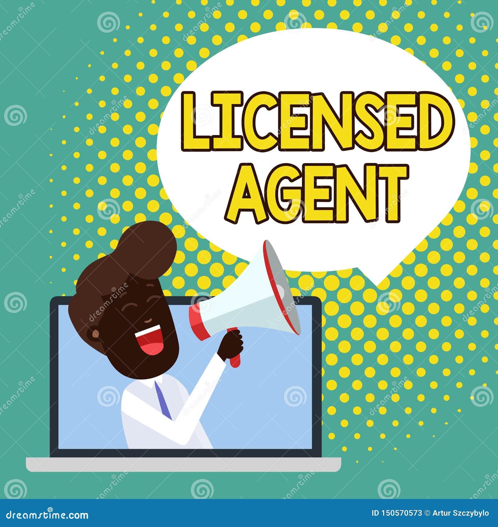 Textzeichen Vertretung genehmigtes Mittel Berechtigter und beglaubigter Verkäufer des Begriffsfotos des Versicherungspolicen Mann