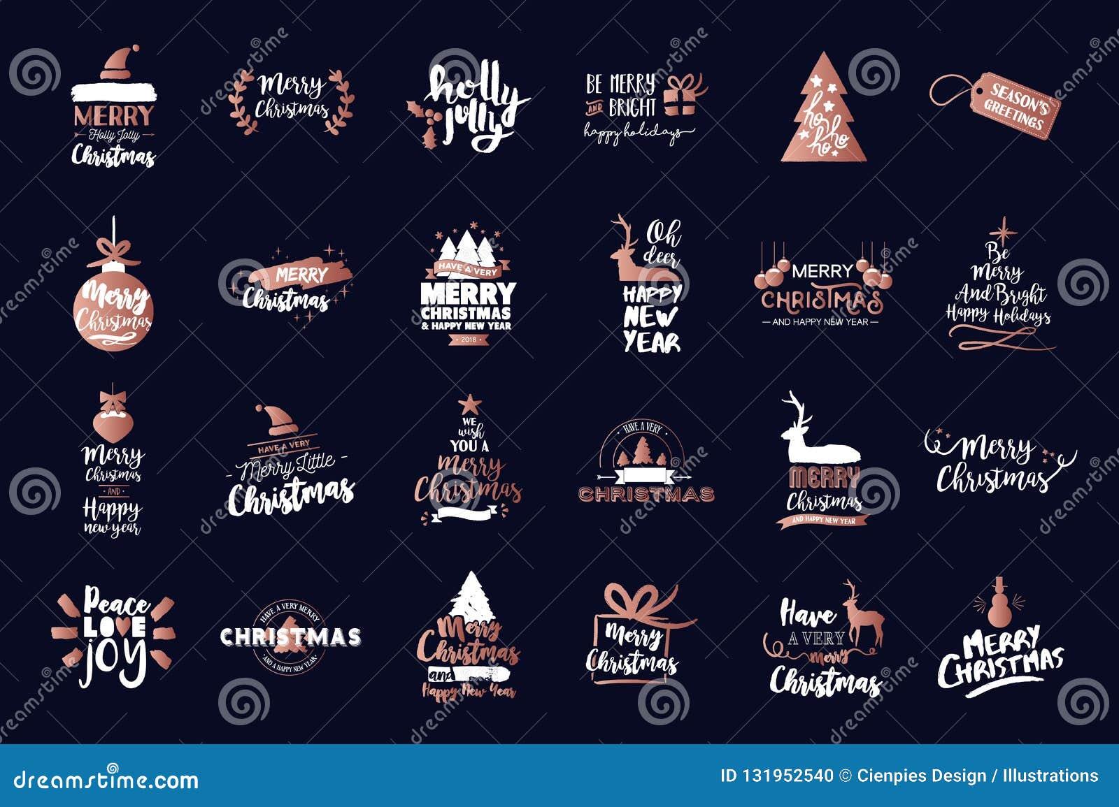 Textzitatluxussatz der frohen Weihnachten kupferner