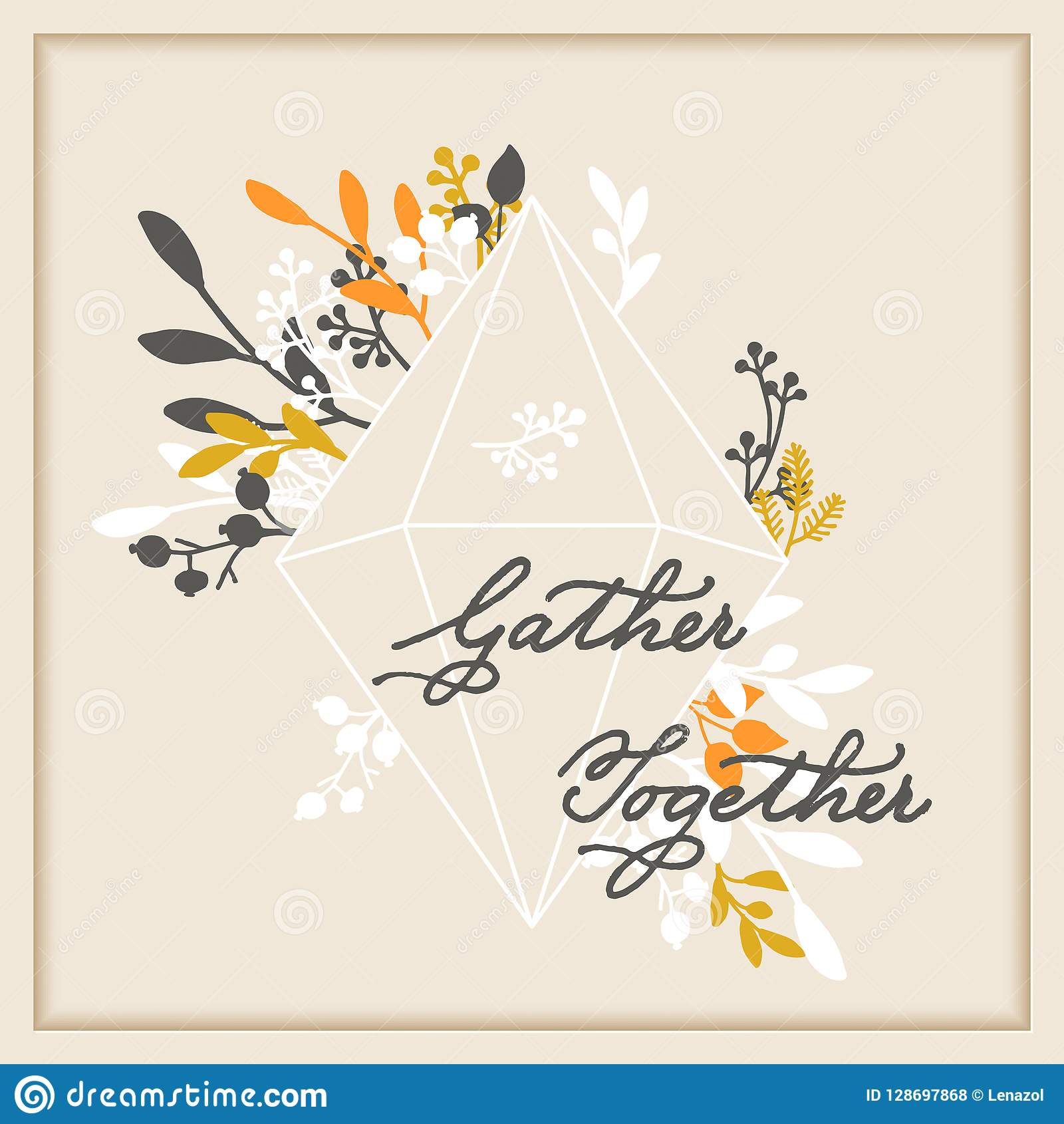 Vector thanksgiving cards template with handwriting gather together and leaf wreath. design for gift cards, print, backgro