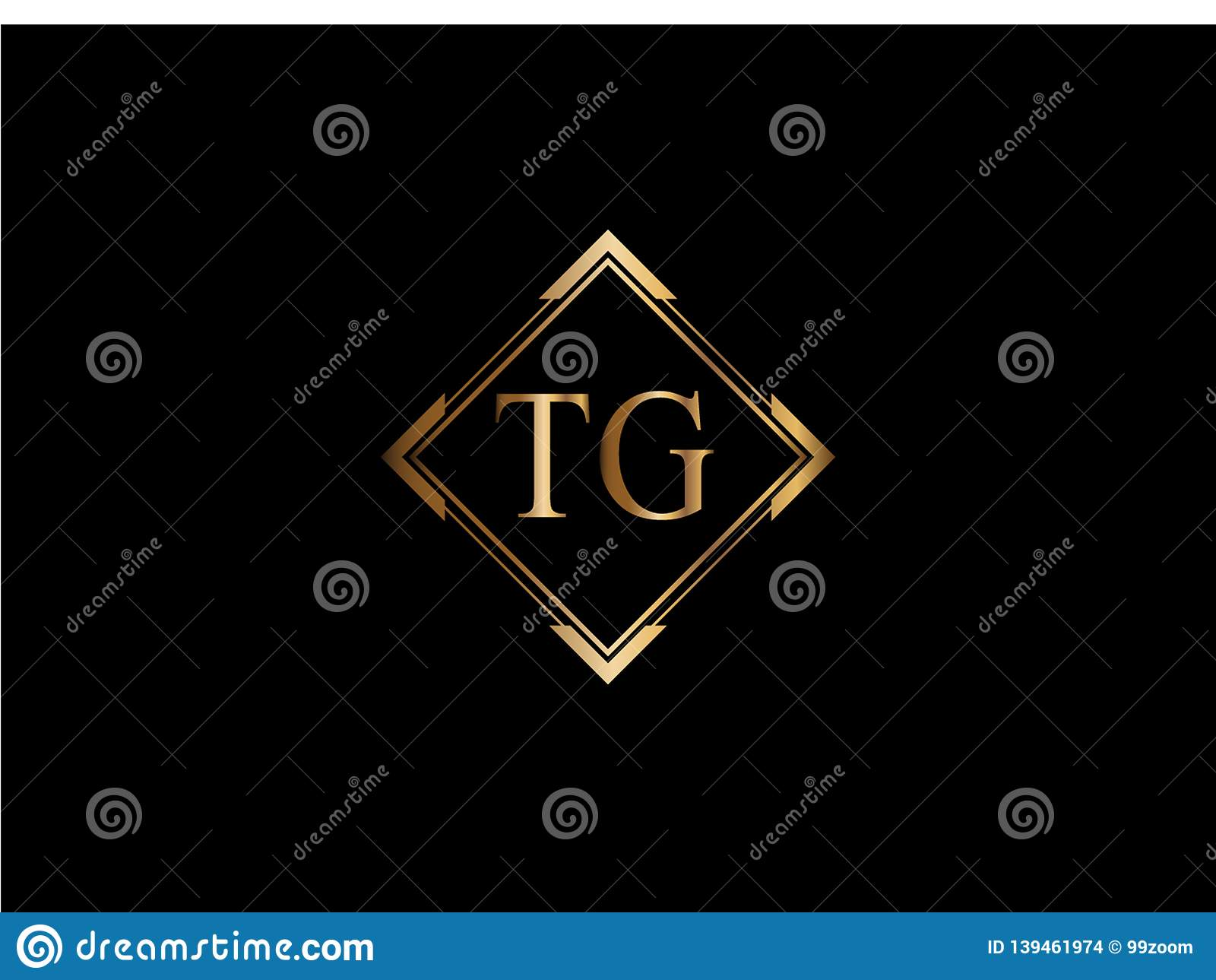 Tg Initial Diamond Shape Gold Color Later Logo Design Stock