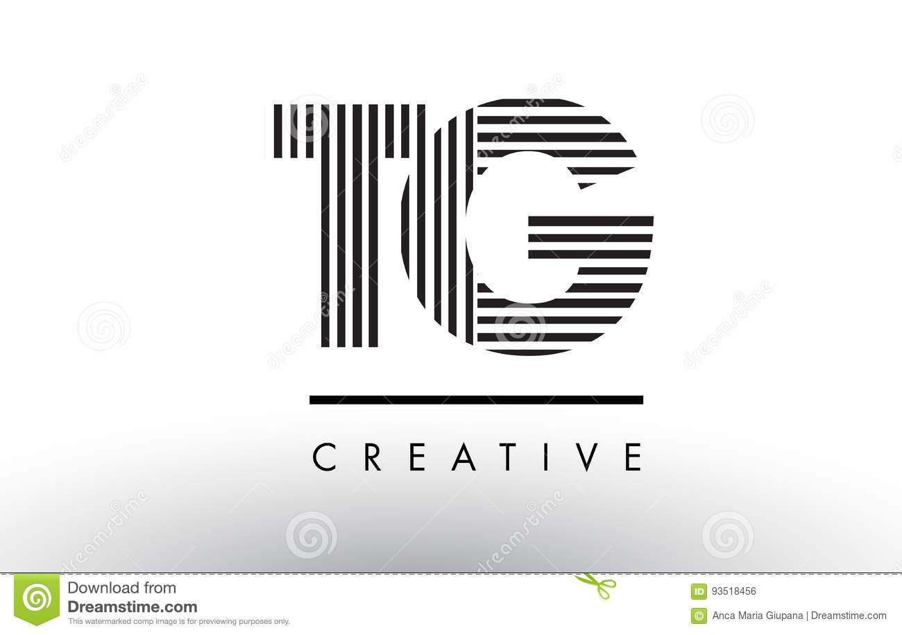 Tg T G Black And White Lines Letter Logo Design Stock