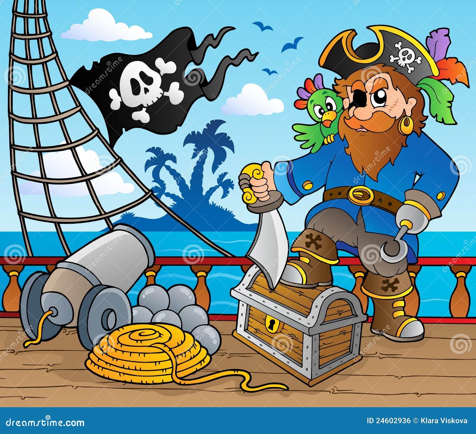 Thème 2 de paquet de bateau de pirate