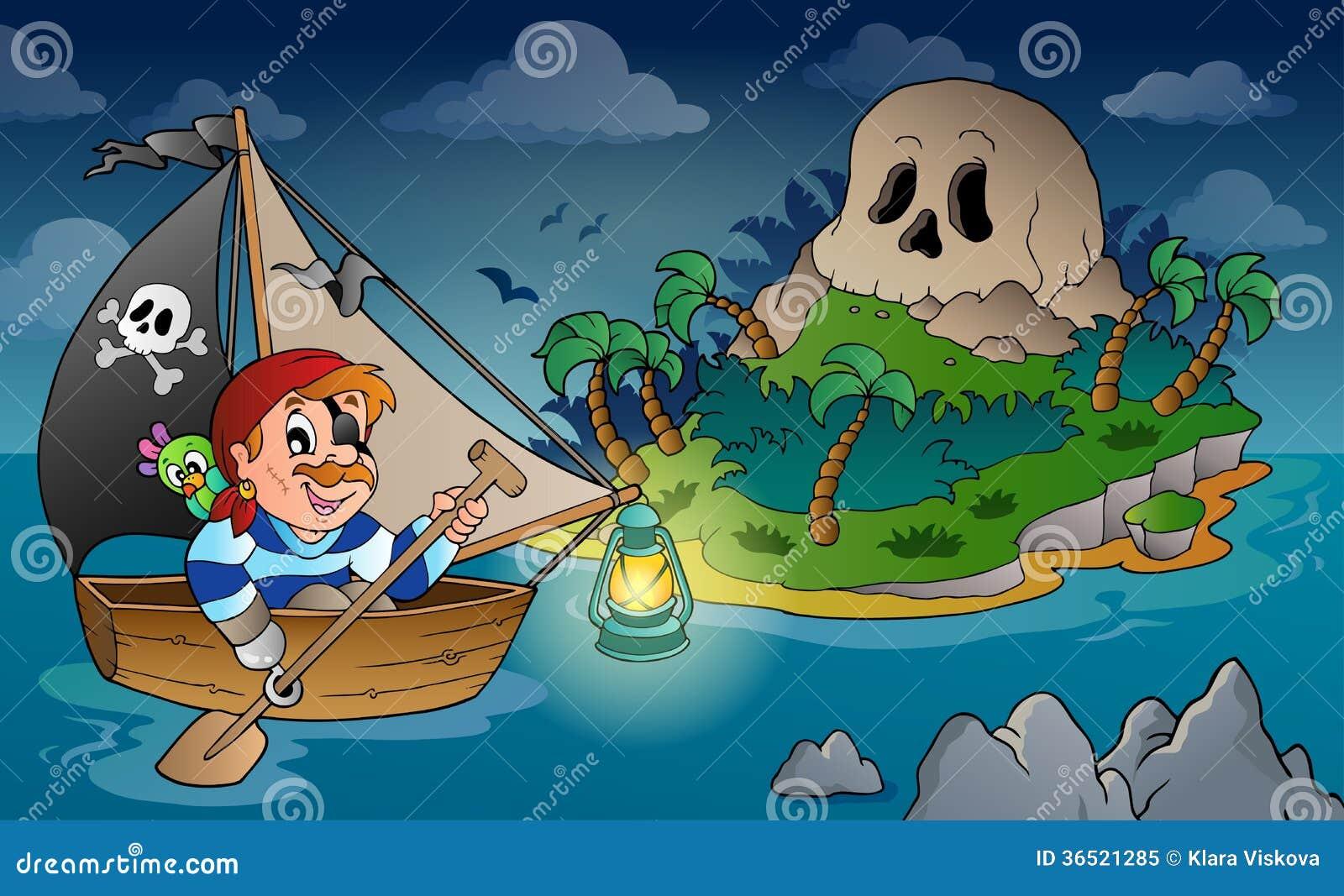 Thème avec l île 2 de crâne de pirate