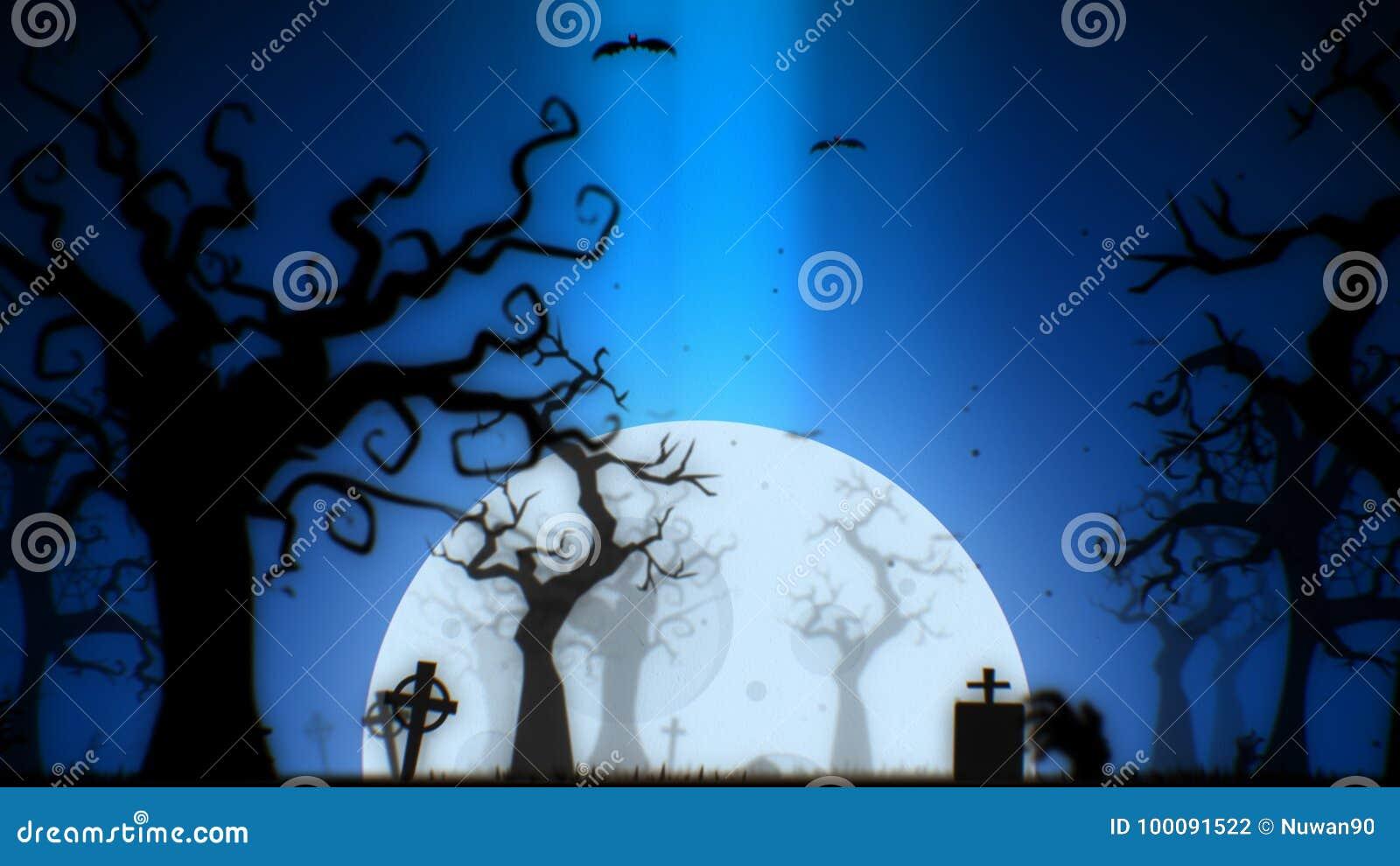 Thème bleu de fond fantasmagorique de Halloween, avec l arbre, la lune, les battes, la main de zombi et le cimetière fantasmagori