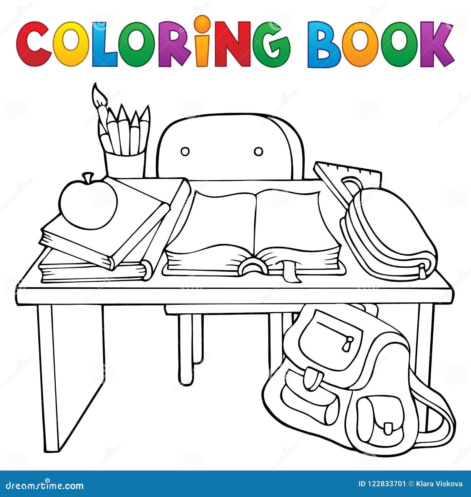 Coloriage Theme Ecole.Theme 1 De Bureau D Ecole De Livre De Coloriage Illustration De