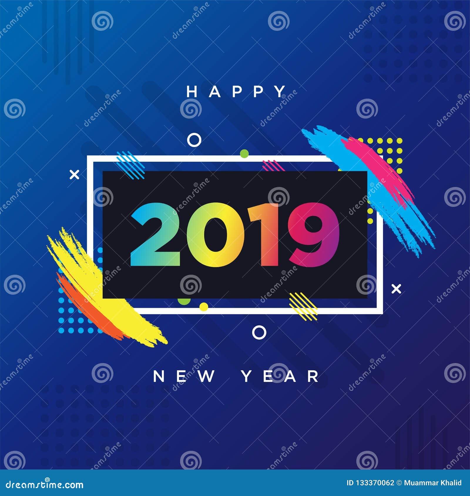Thème de carte de la bonne année 2019 Cadre de fond de vecteur pour des graphiques d Art moderne des textes pour des hippies