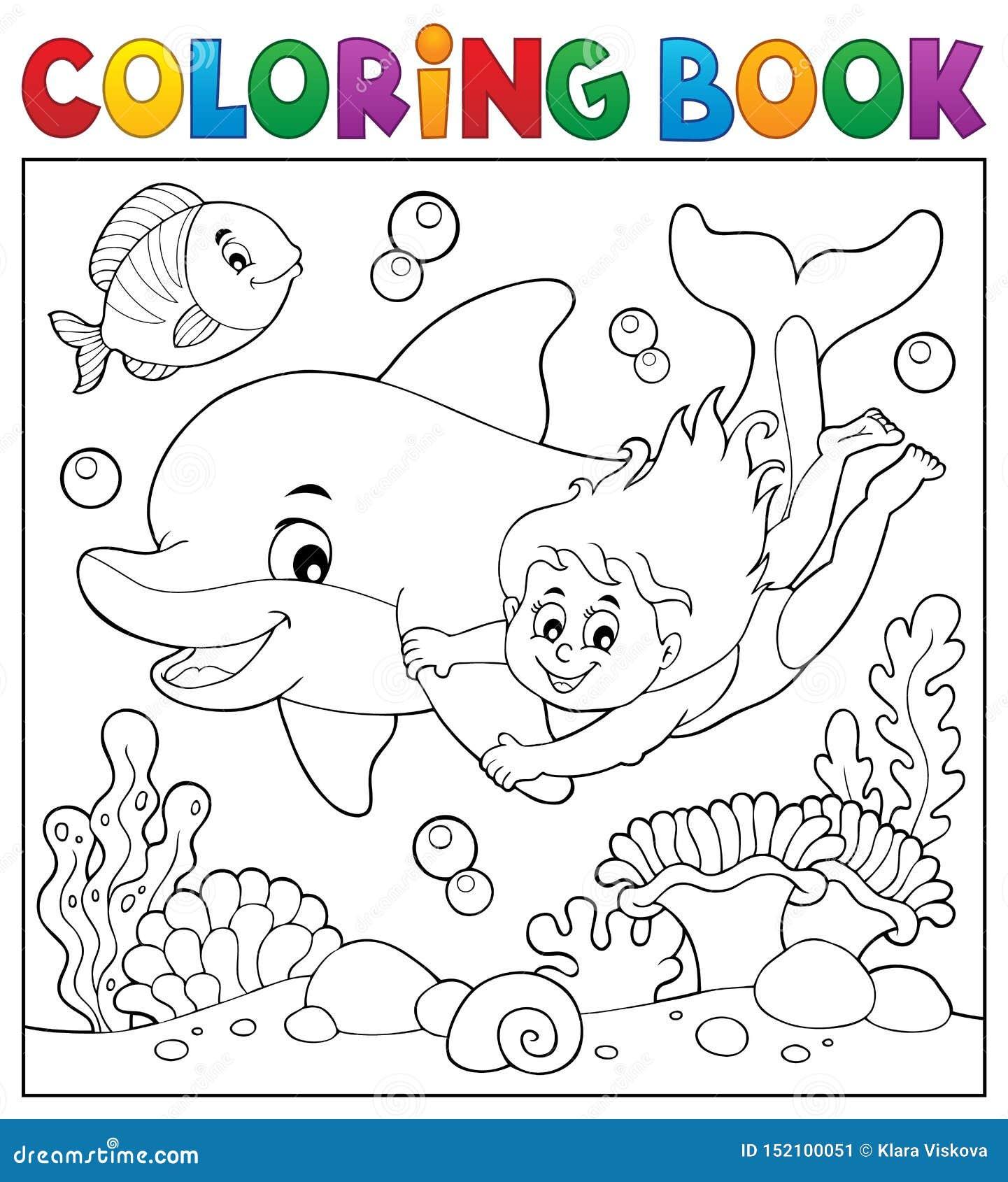 Thème 40 De Fille Et De Dauphin De Livre De Coloriage Illustration ...