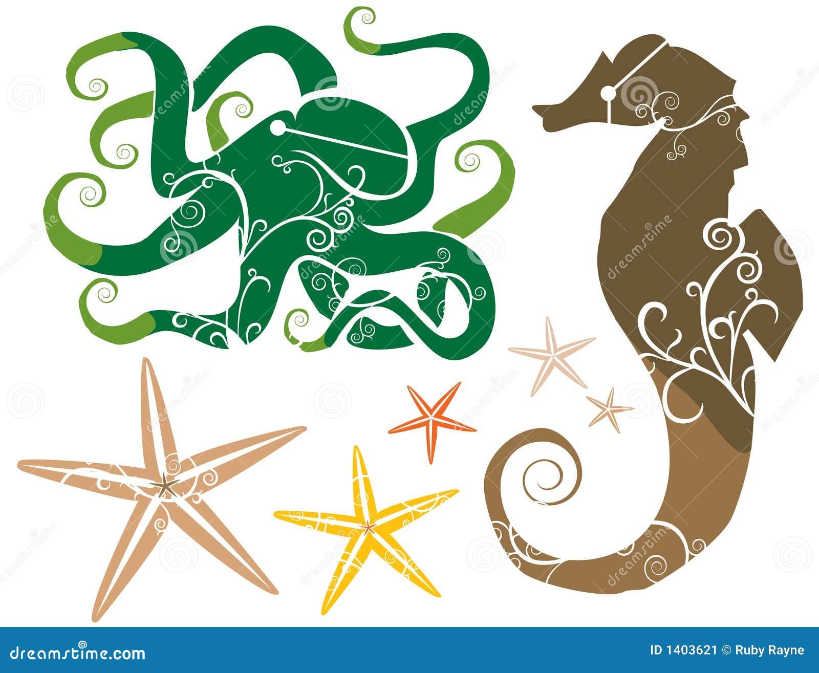 Thème de mer : COULEUR d étoiles de mer de poulpe d hippocampe