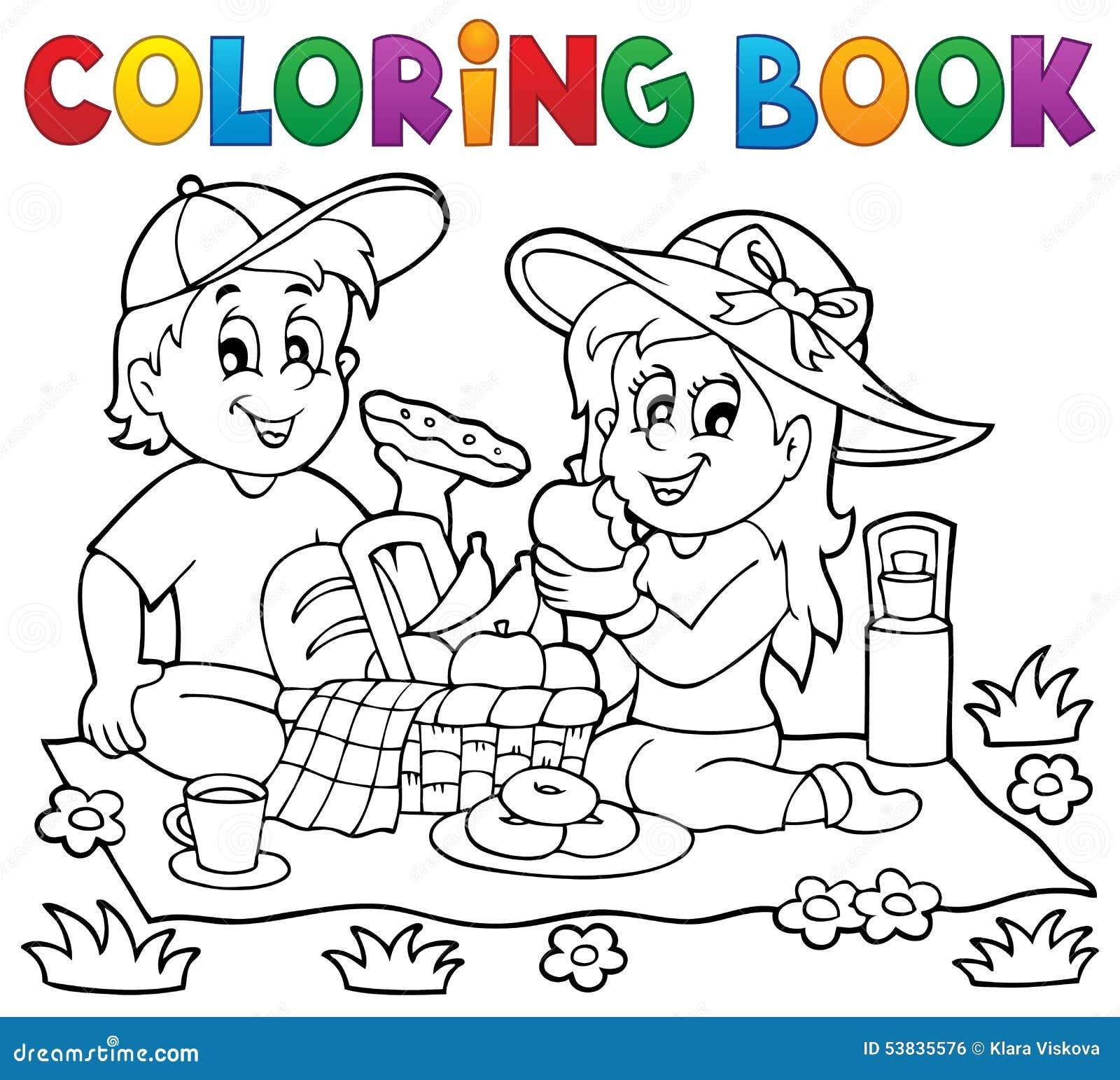 Thème 1 de pique-nique de livre de coloriage