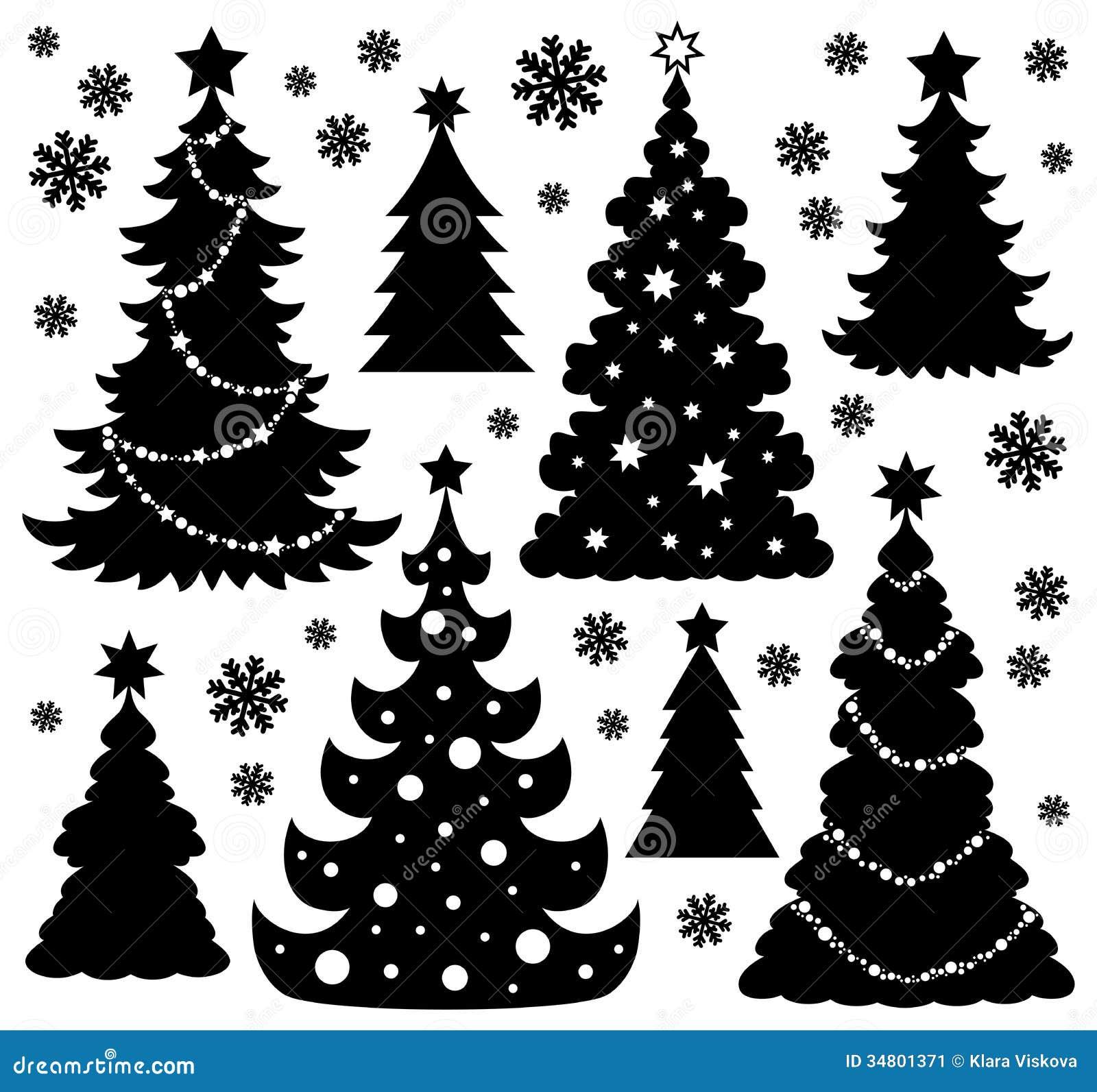Th me 1 de silhouette d 39 arbre de no l illustration de for Silhouette de noel exterieur