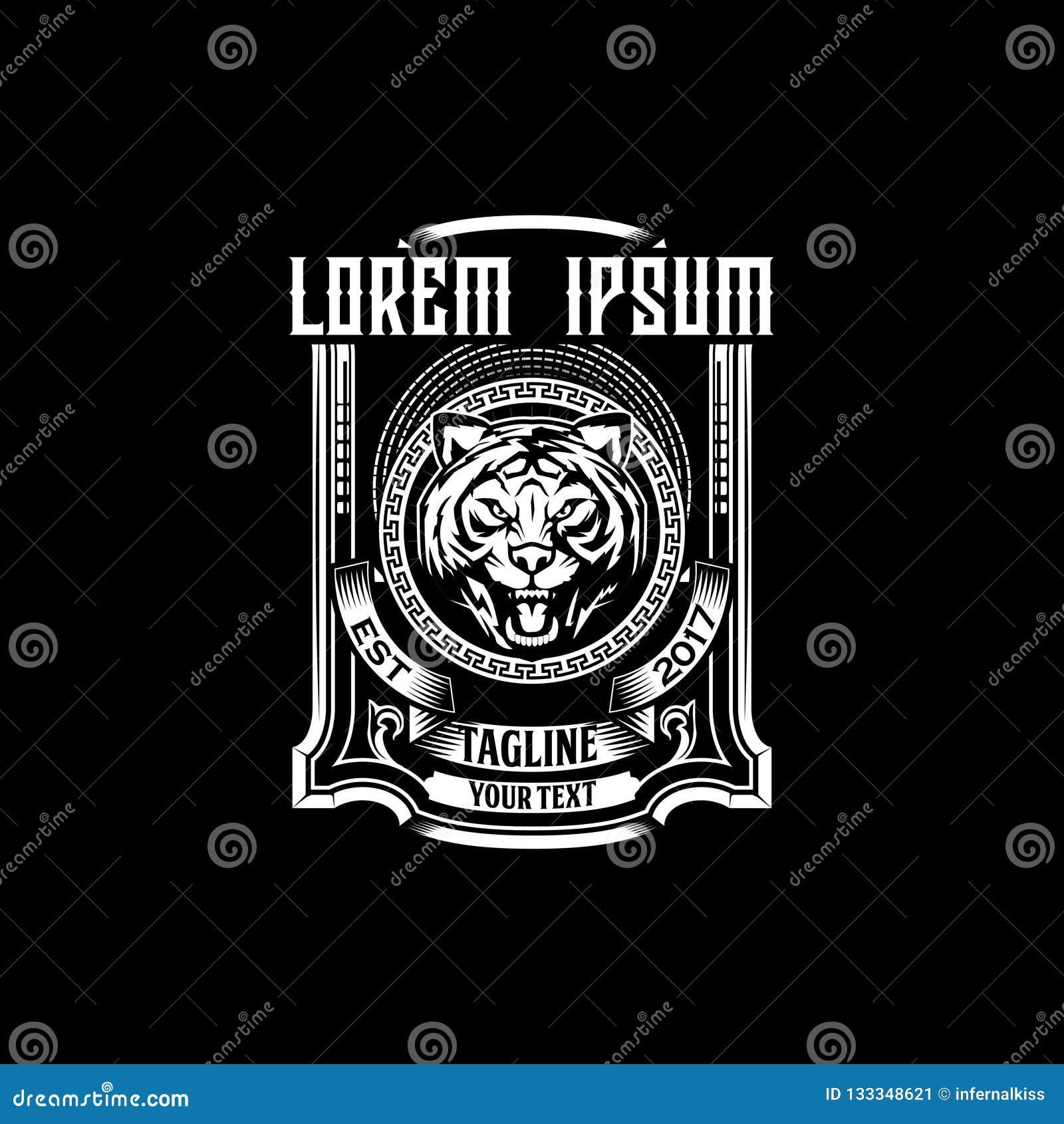 Thème principal étonnant et unique de cru d emblème de tigre de calibre de label ou de vecteur de logo
