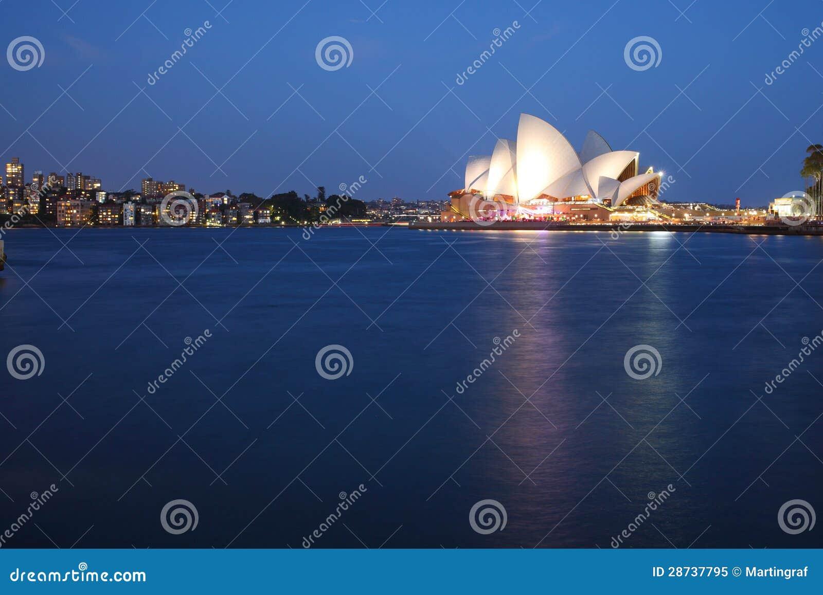 Théatre de l opéra de Sydney avec l horizon de Kirribilli