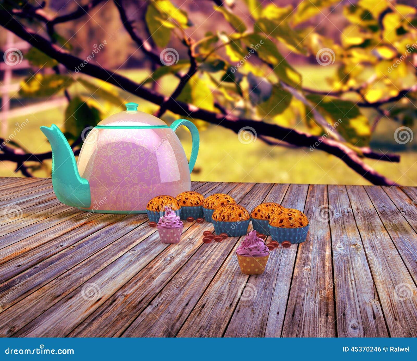 Théière et petits gâteaux